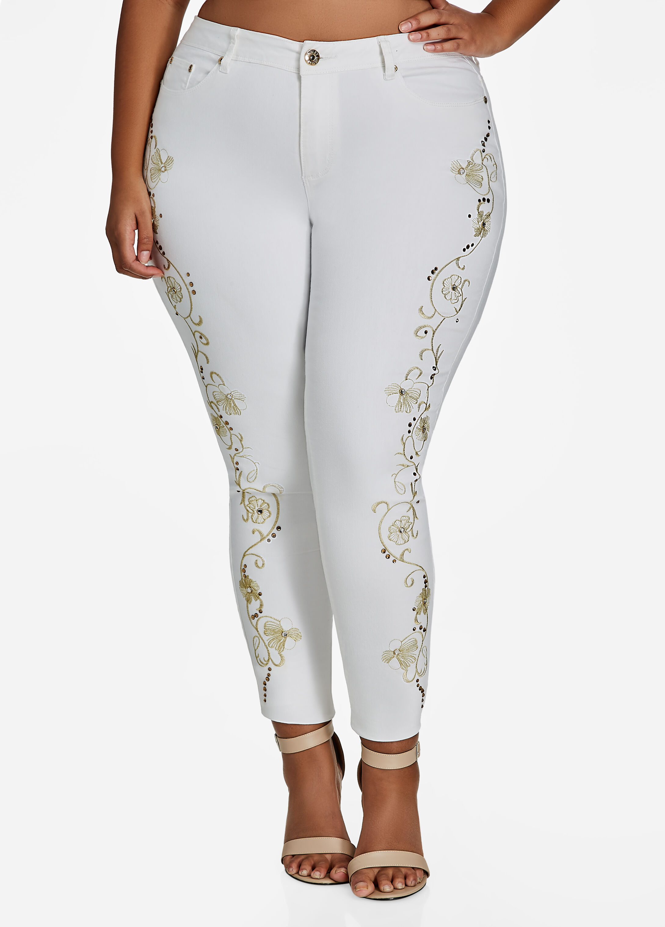 Gold Lurex Embroidered Trim Skinny Jeans