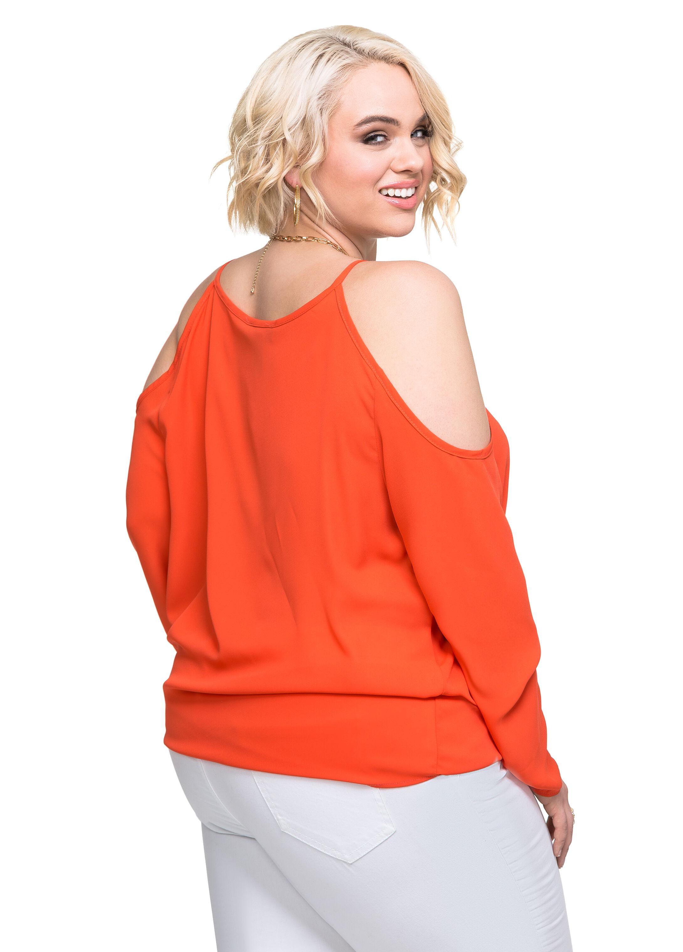 surplice cold shoulder blouse plus size tops ashley stewart. Black Bedroom Furniture Sets. Home Design Ideas