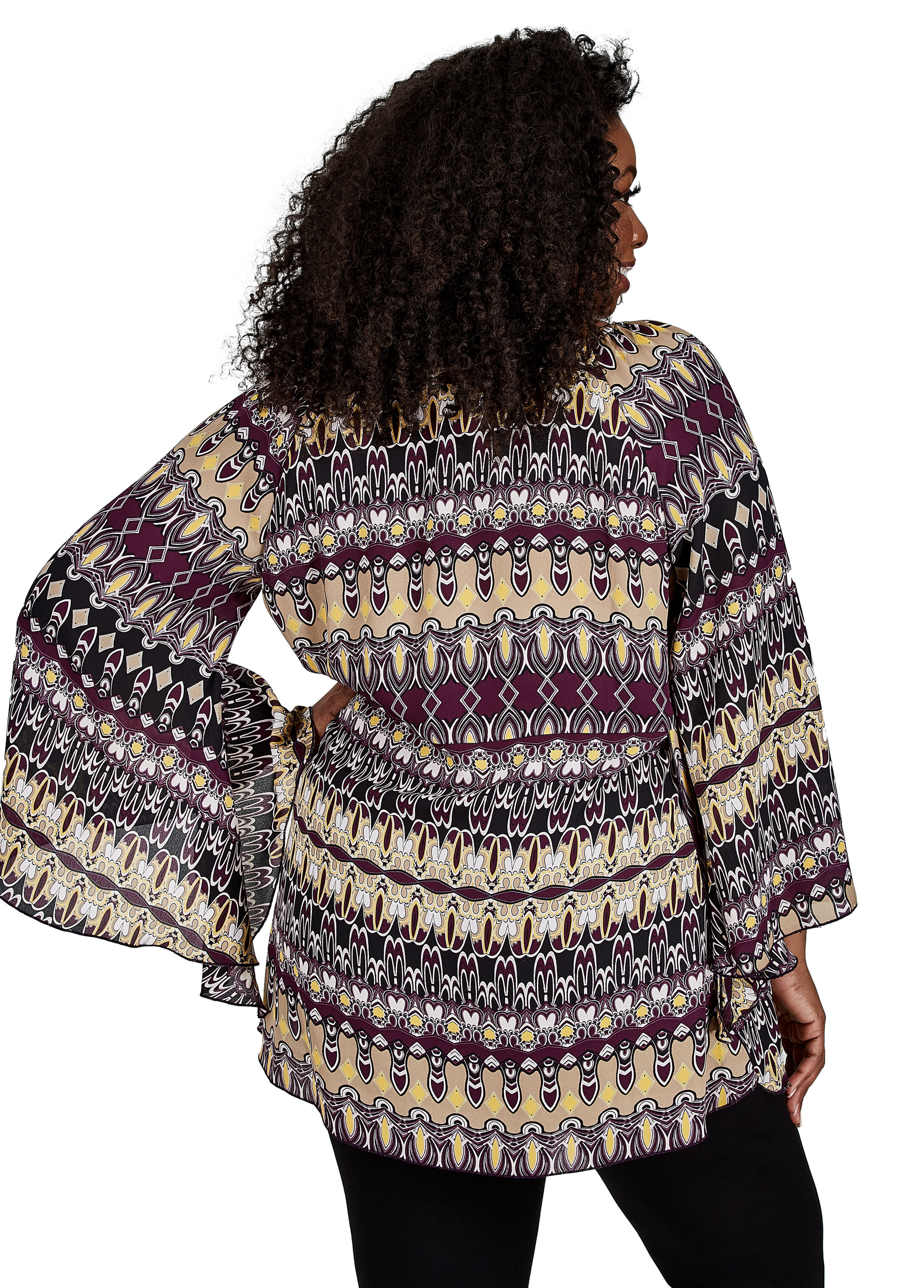 Abstract Print Surplice Split Sleeve Tunic