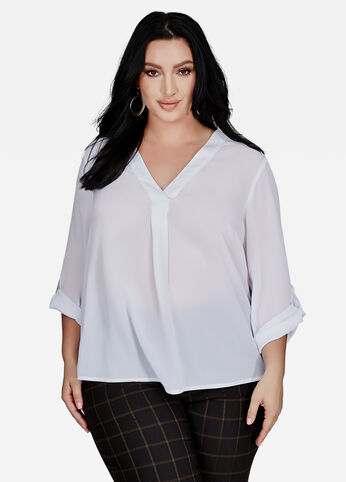 Buy Womens White Shirts and Blouses - Ashley Stewart