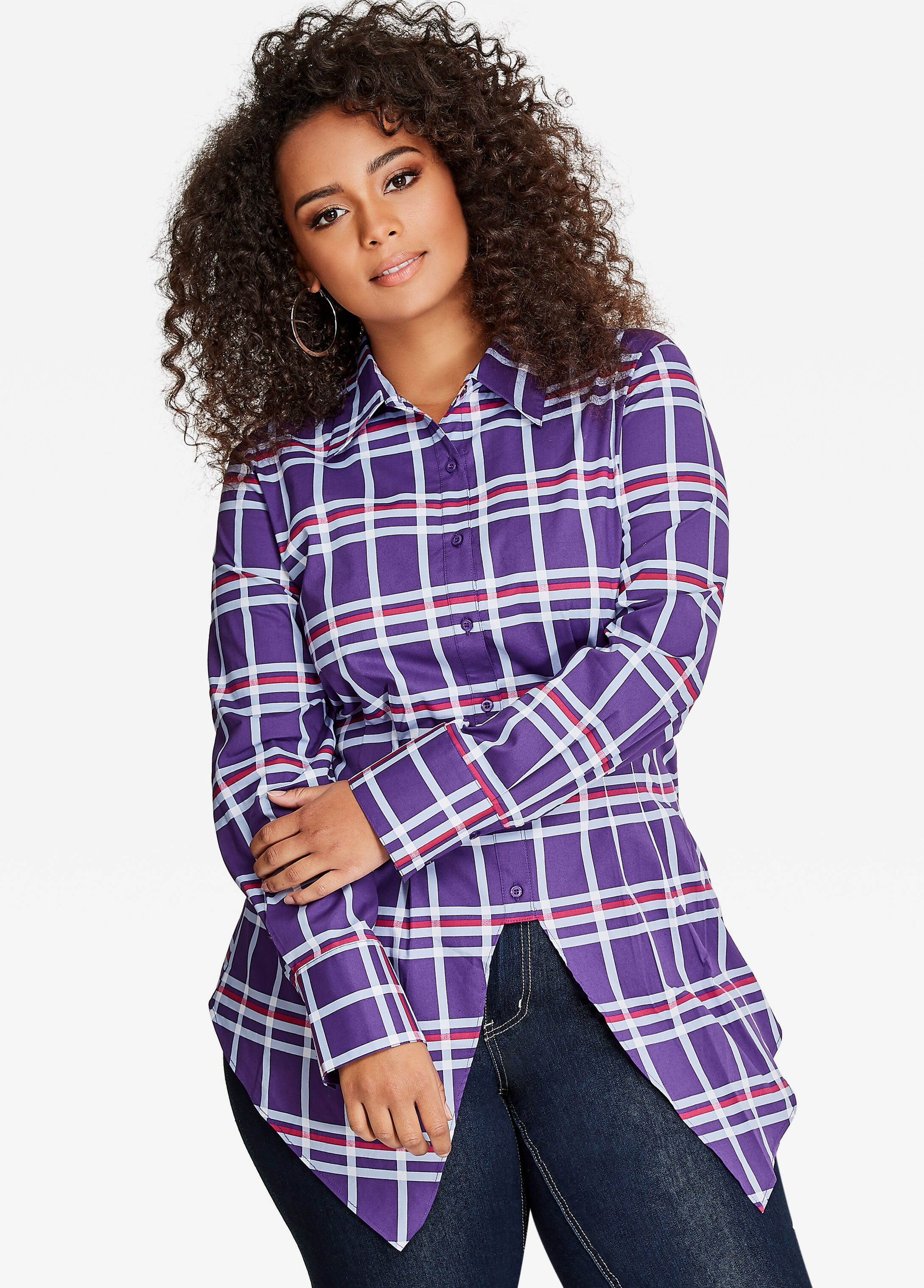 Long Sleeve Hi-Lo Plaid Tunic Top