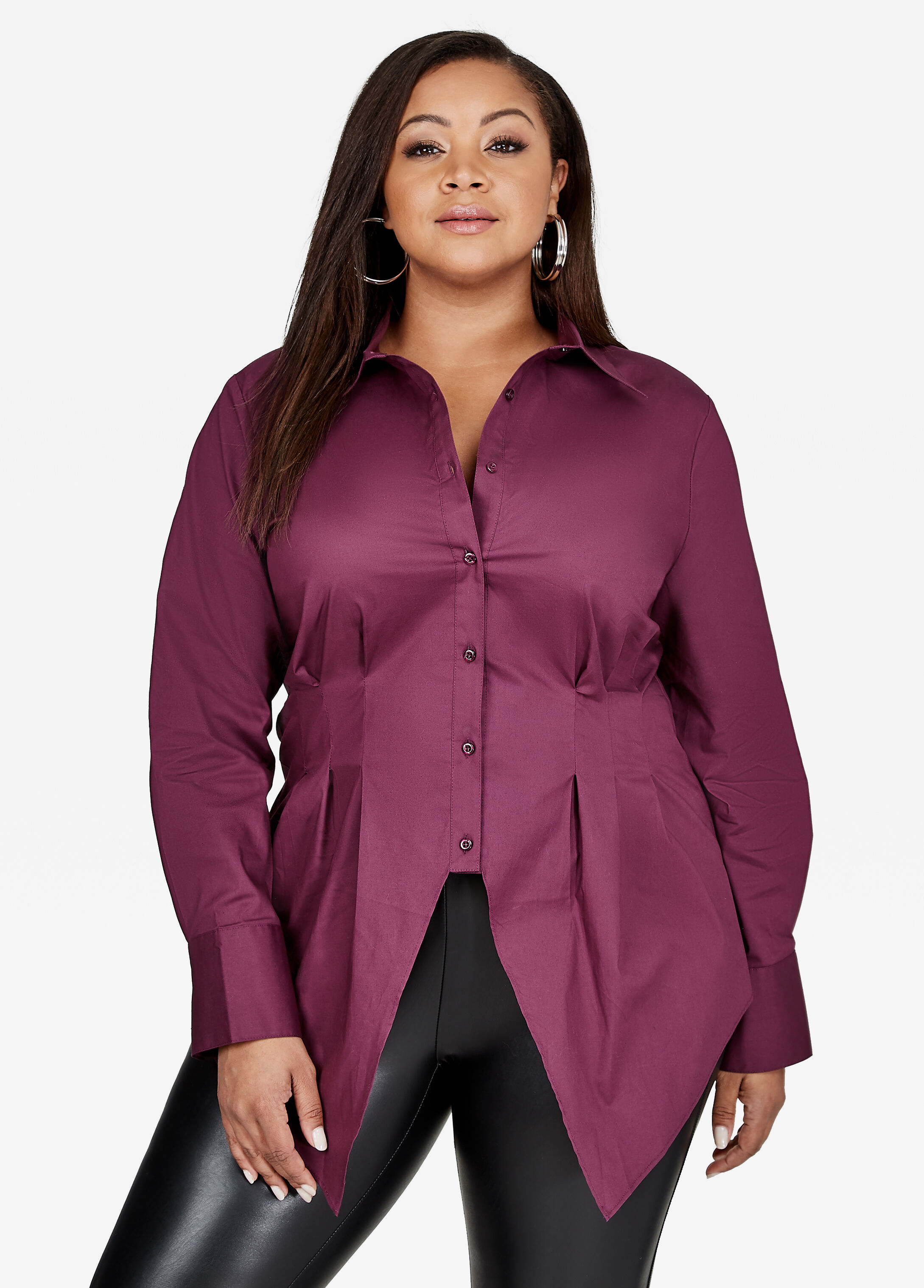 Button Up Dress Shirt Italian Plum - Clearance