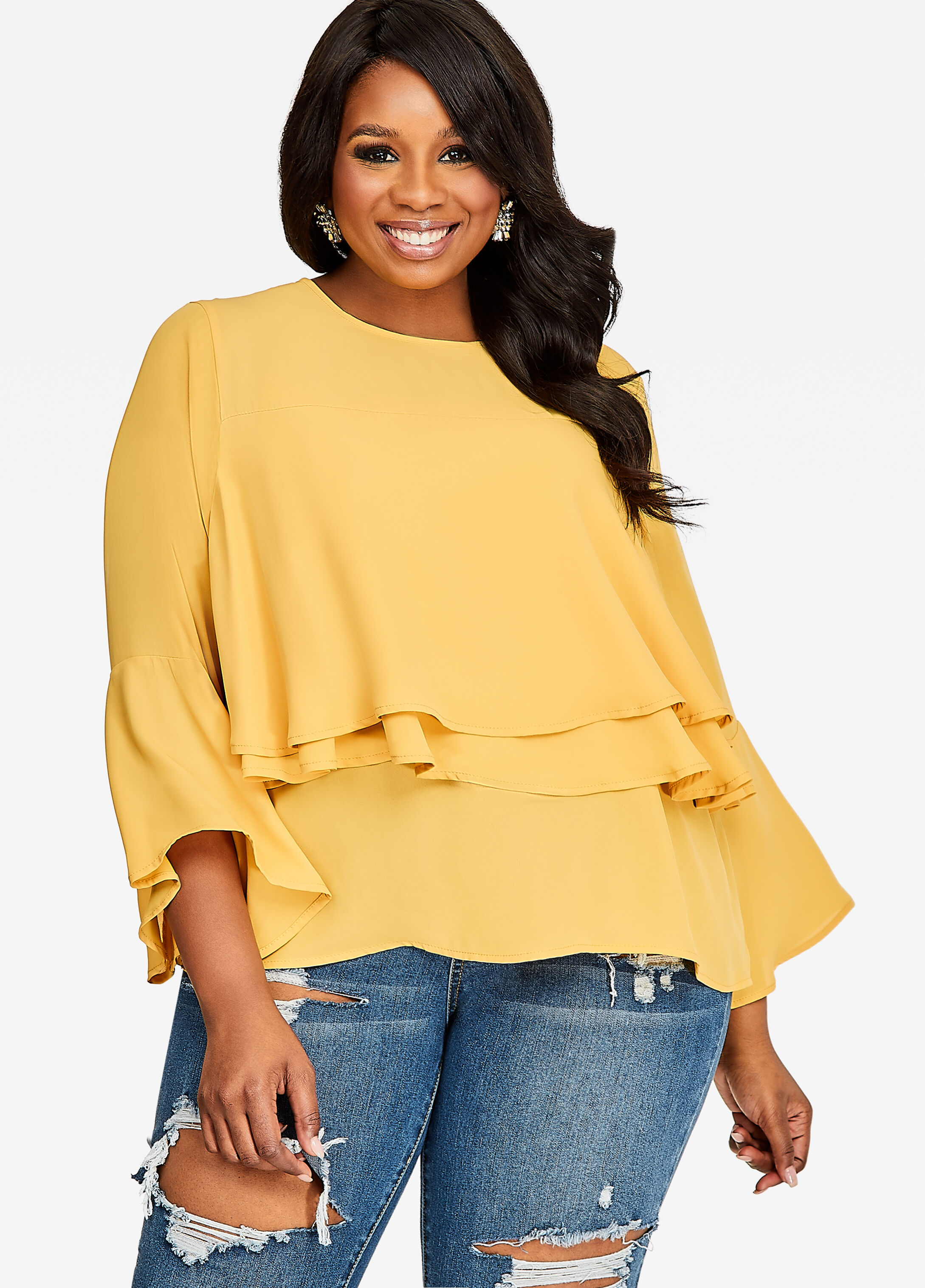 Tiered Top With Long Wide Sleeves