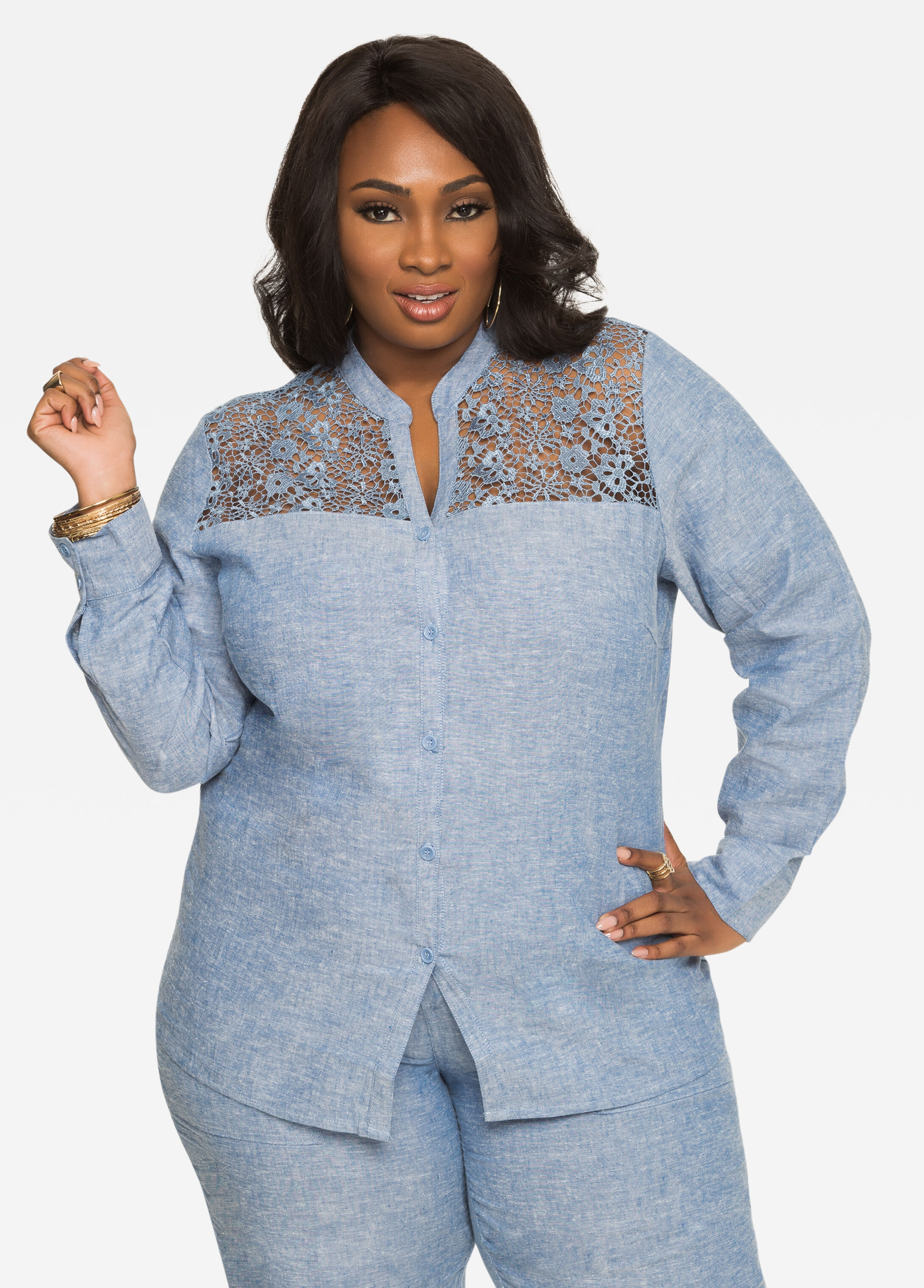 Crochet Lace Chambray Linen Shirt Indigo - Clearance