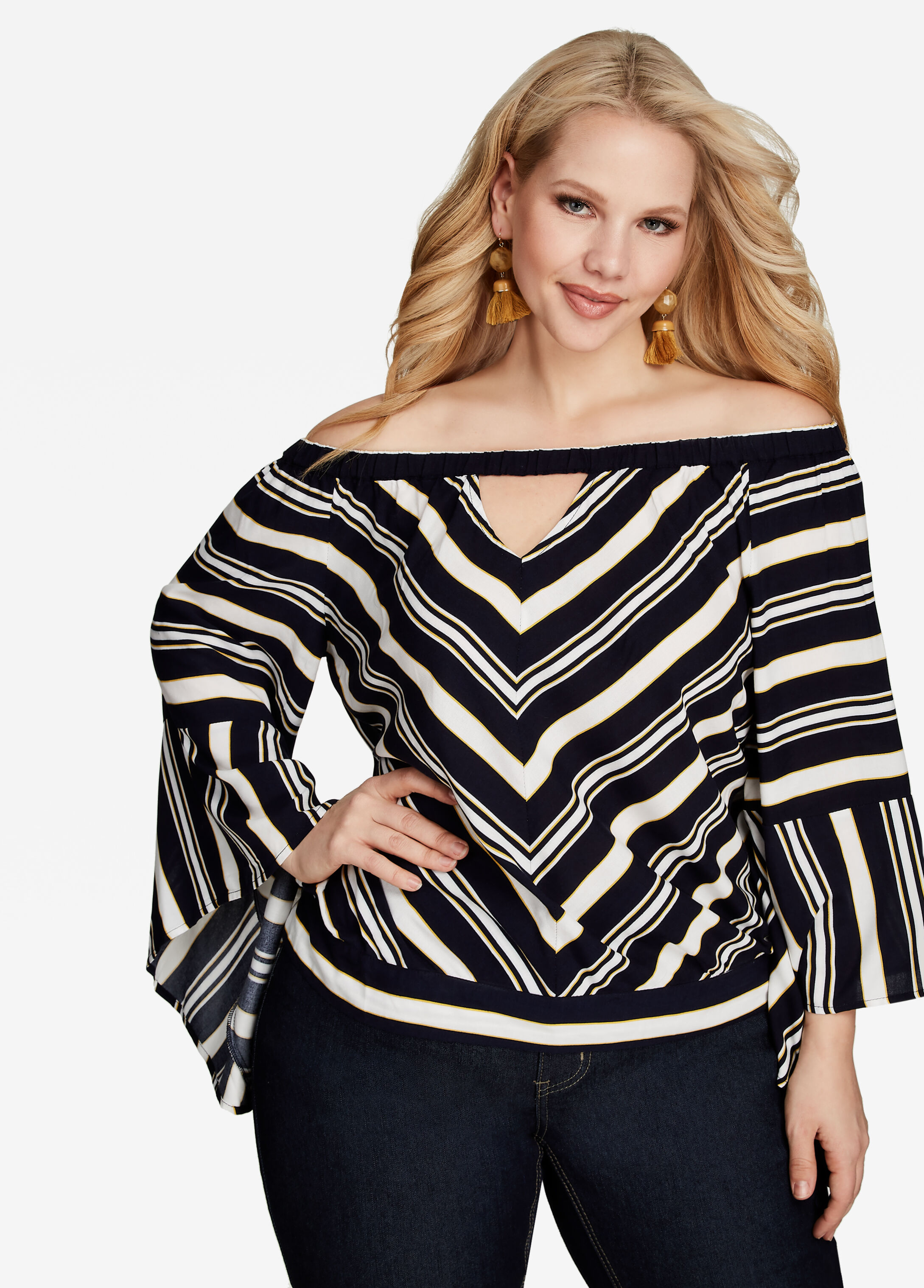 Off Shoulder Striped Keyhole Top