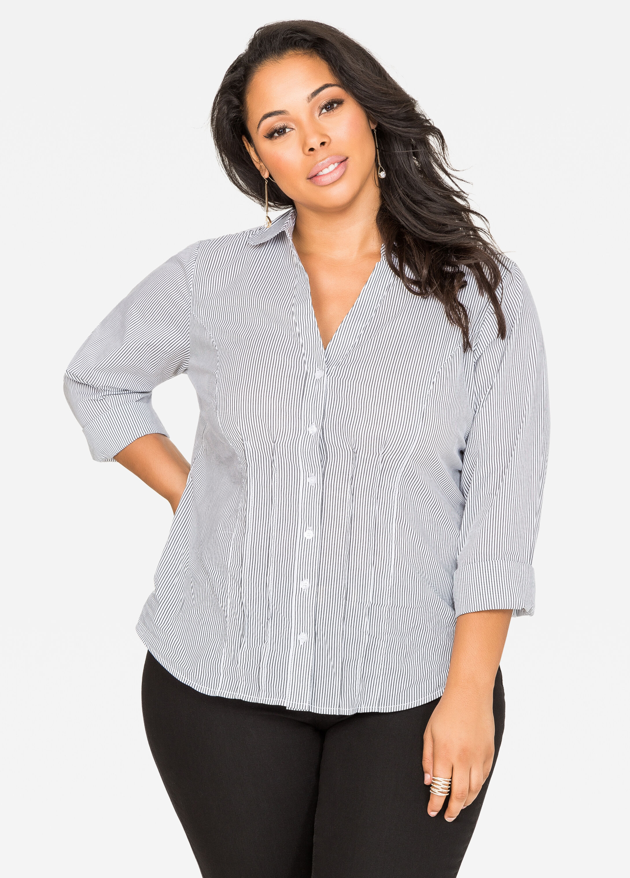 Pleated Stripe Button Front Shirt Metallic Silver - Clearance