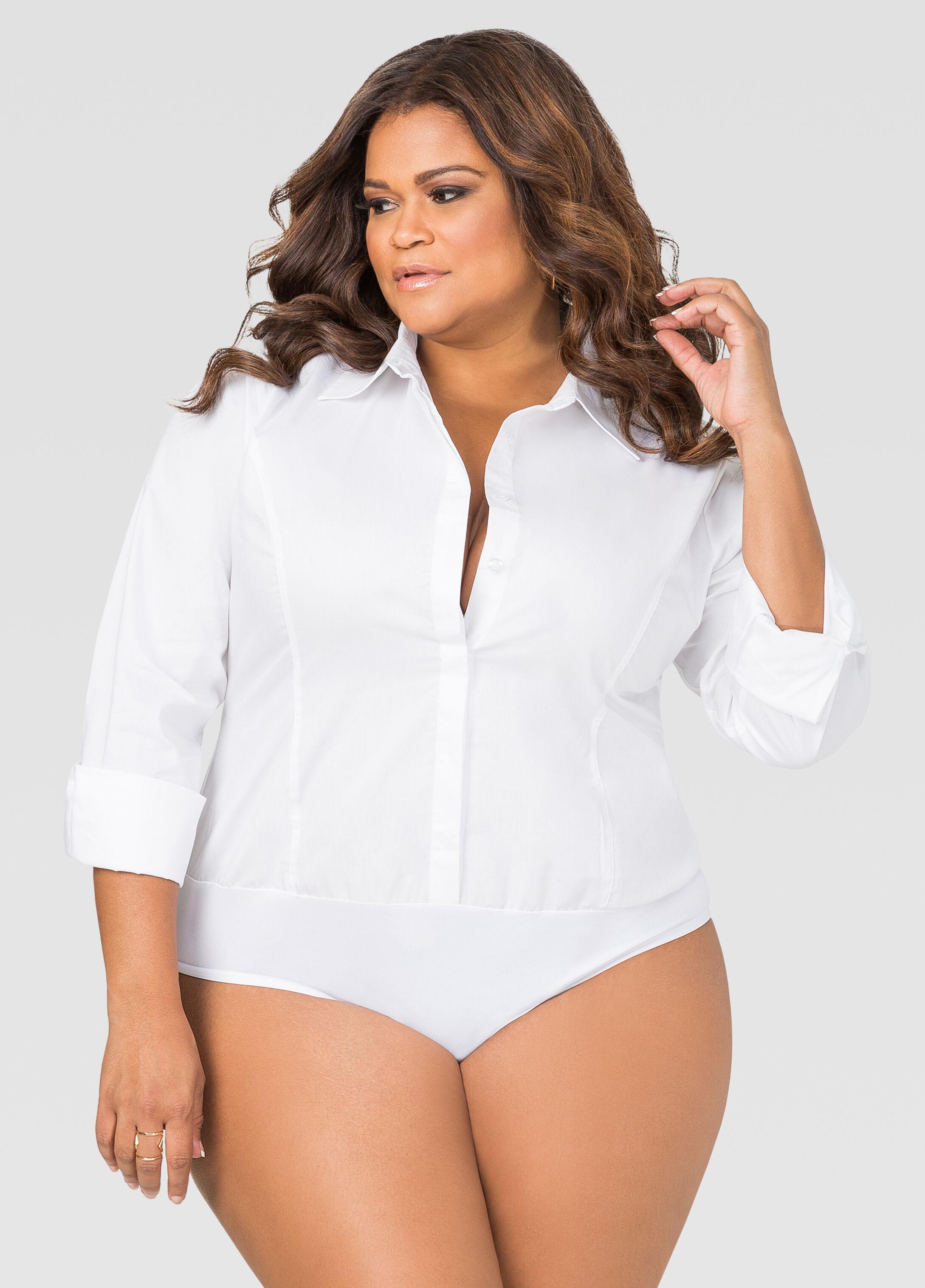 button front shirt bodysuit-plus size bodysuits-ashley stewart-035