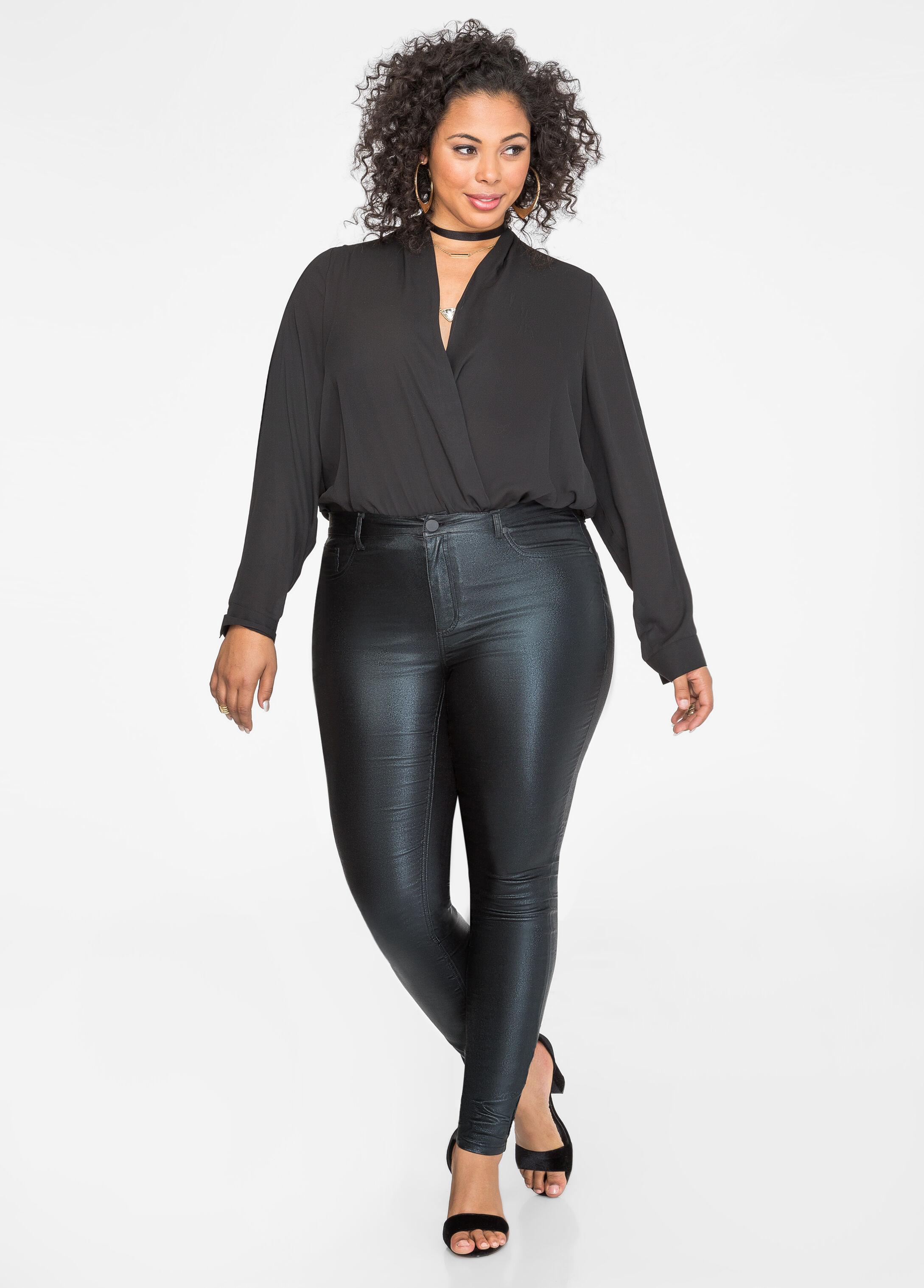 surplice blouse bodysuit-plus size tops-ashley stewart-035-l9m5635
