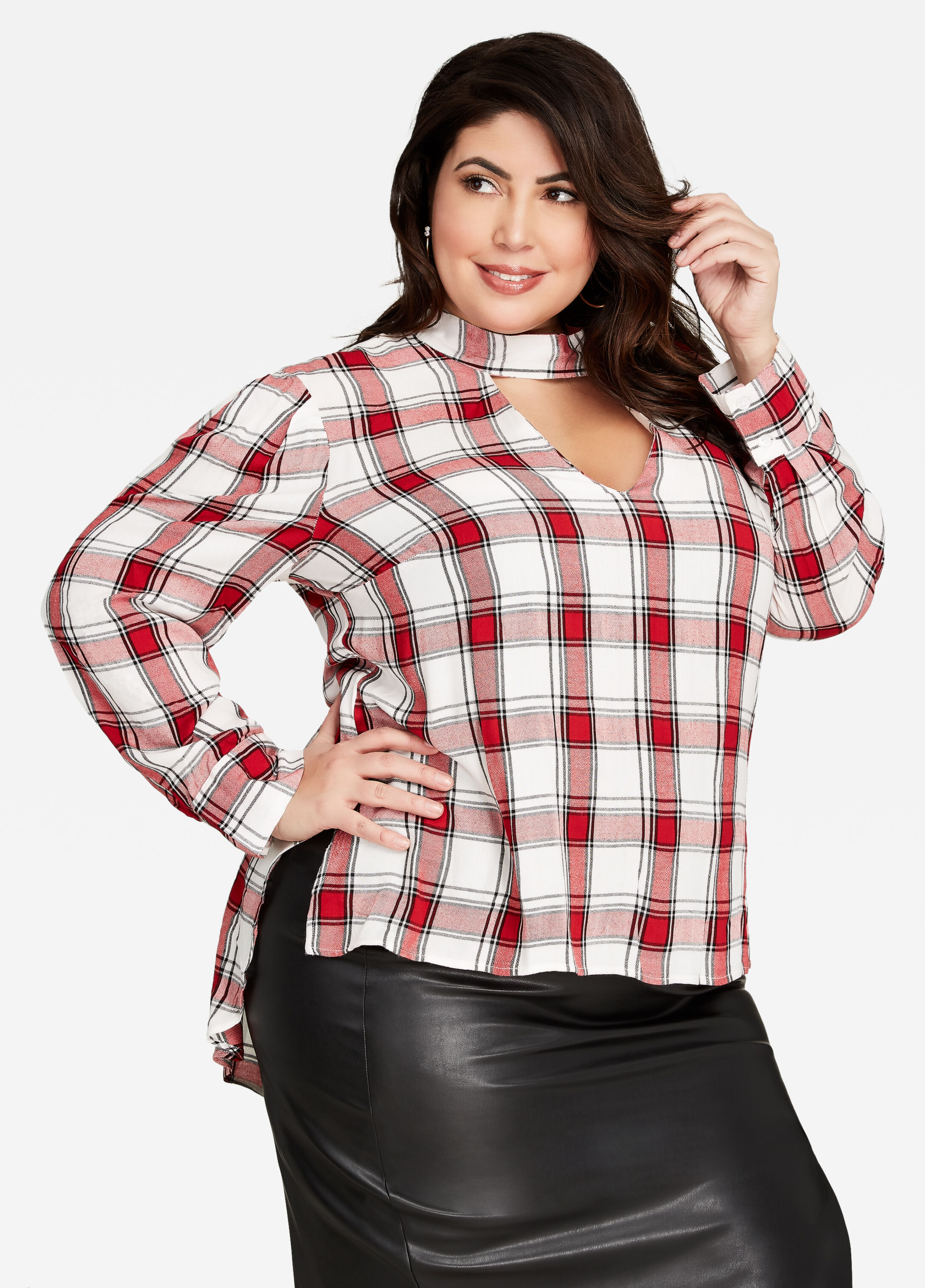 Hi Lo Keyhole Plaid Tunic Top