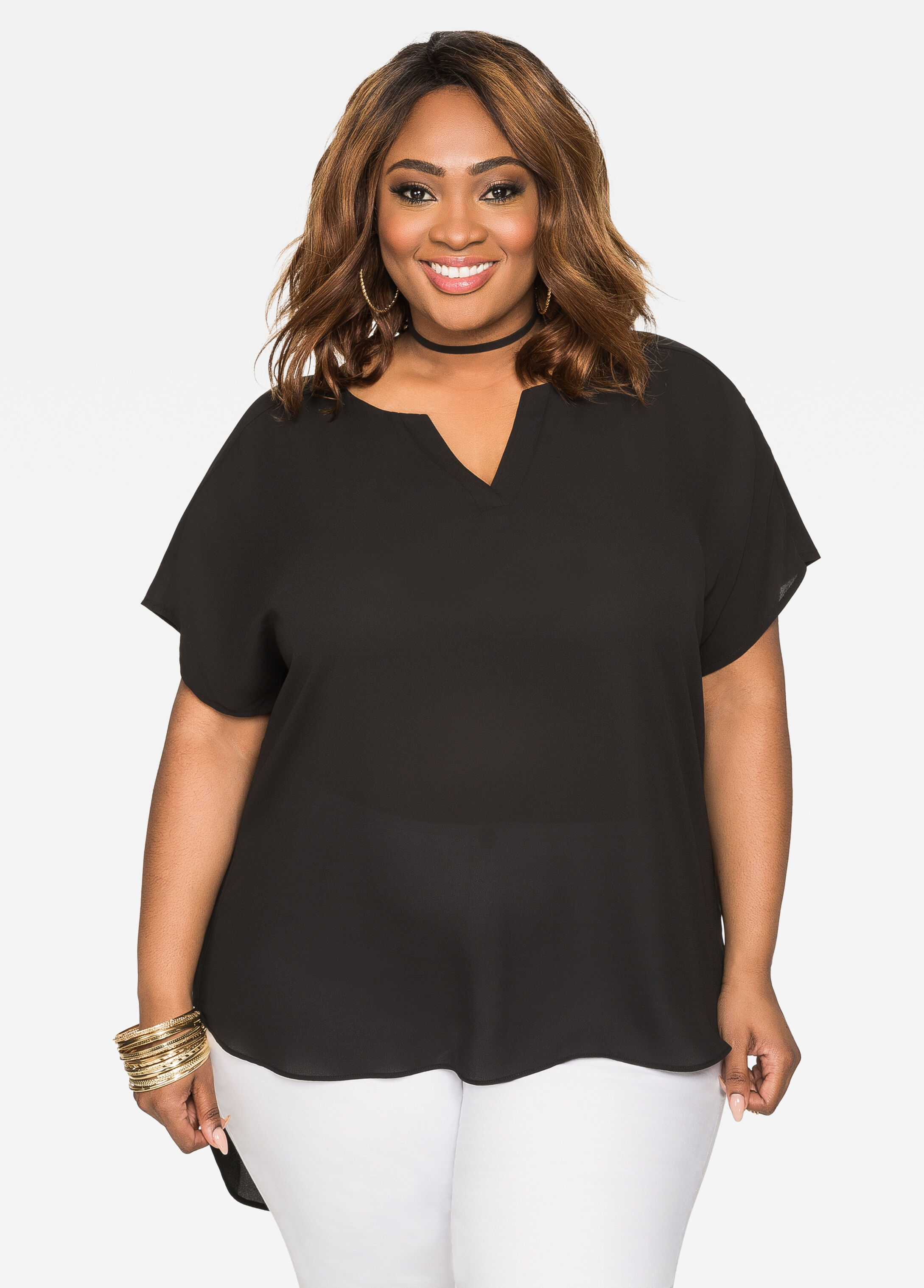 Hi-Lo Blouse with Drop Shoulders Black - Clearance