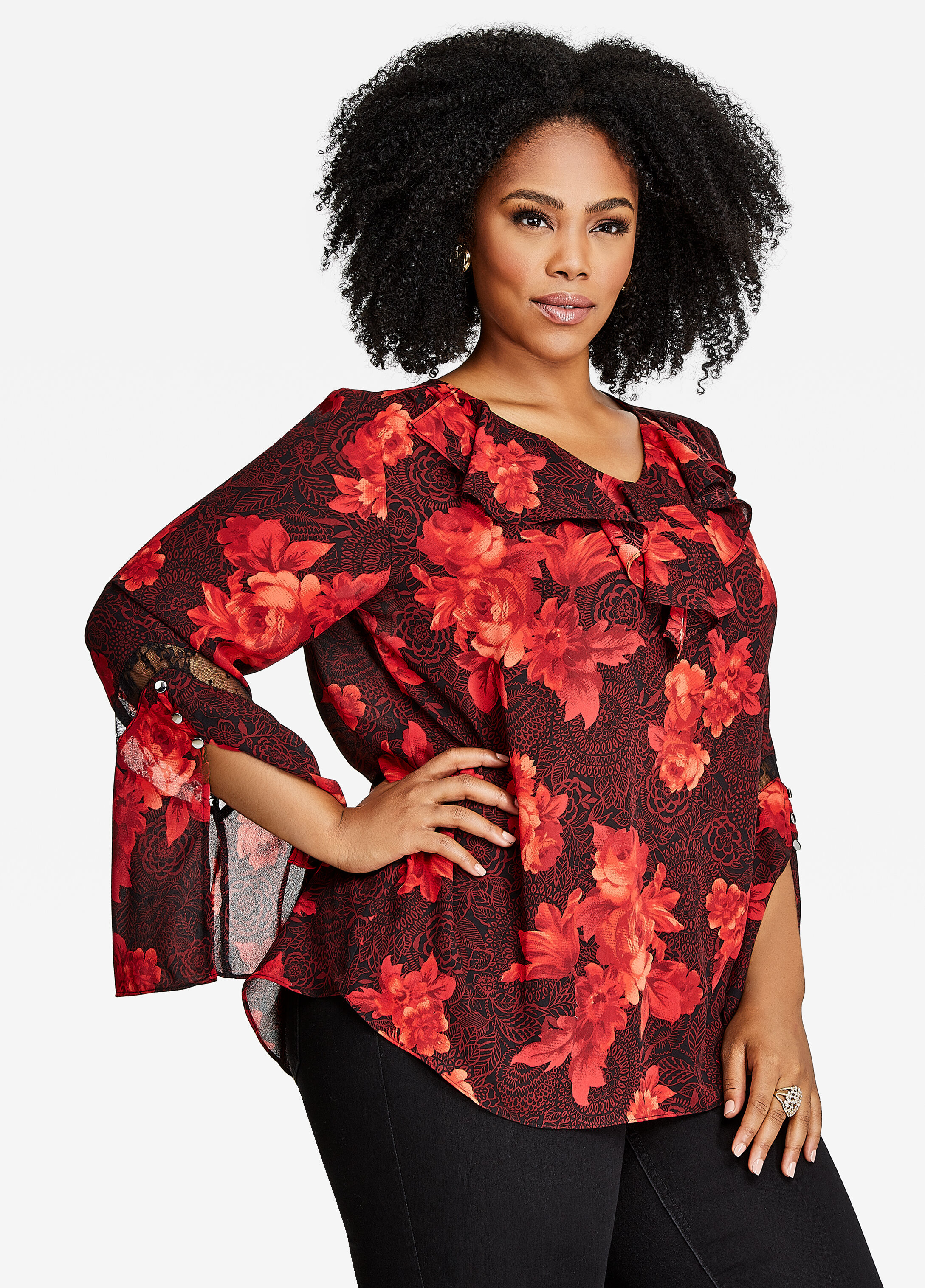 Floral Bell Sleeve Ruffle Blouse