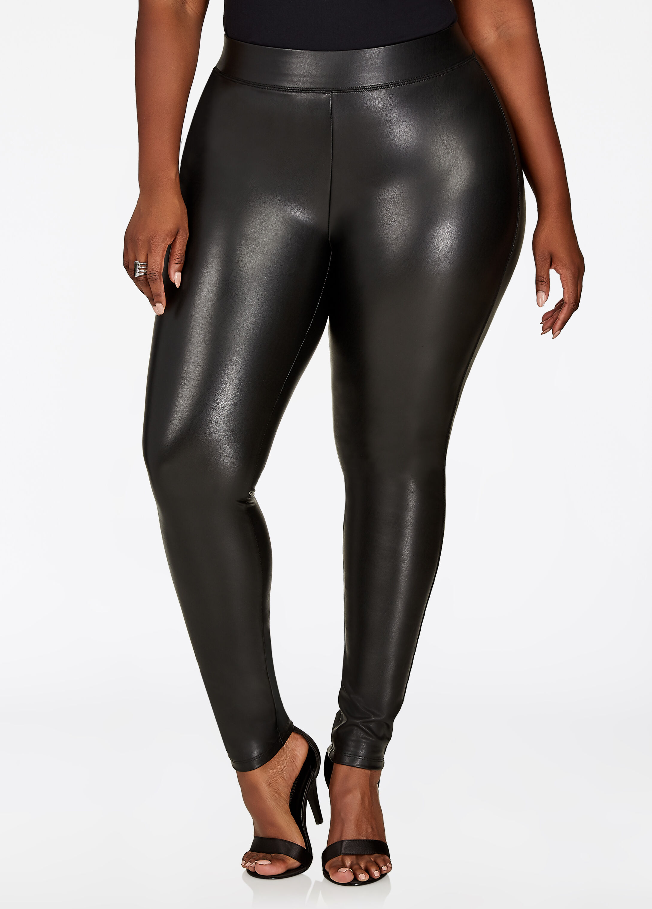 Faux Leather Pull On Legging