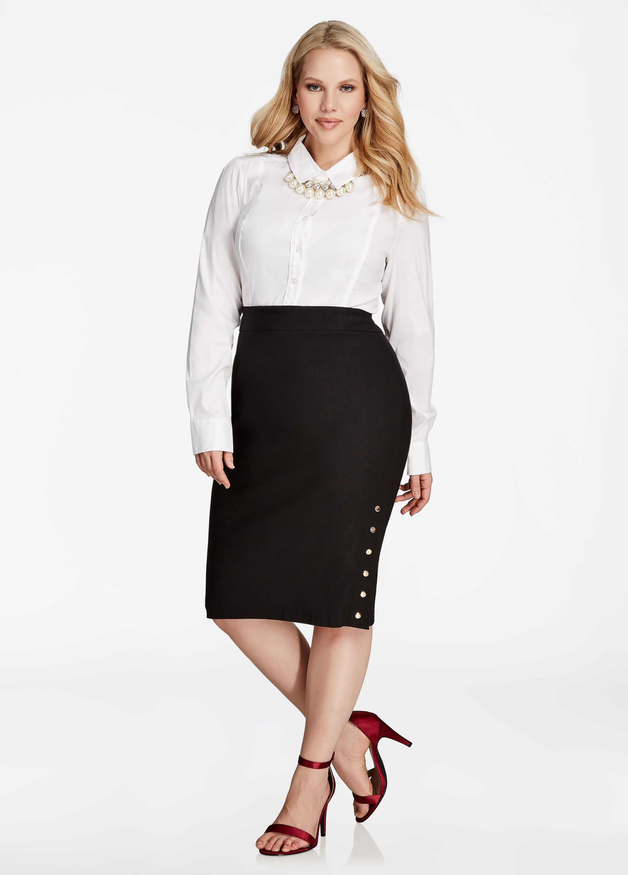 Pencil Skirt With Snap Button Side