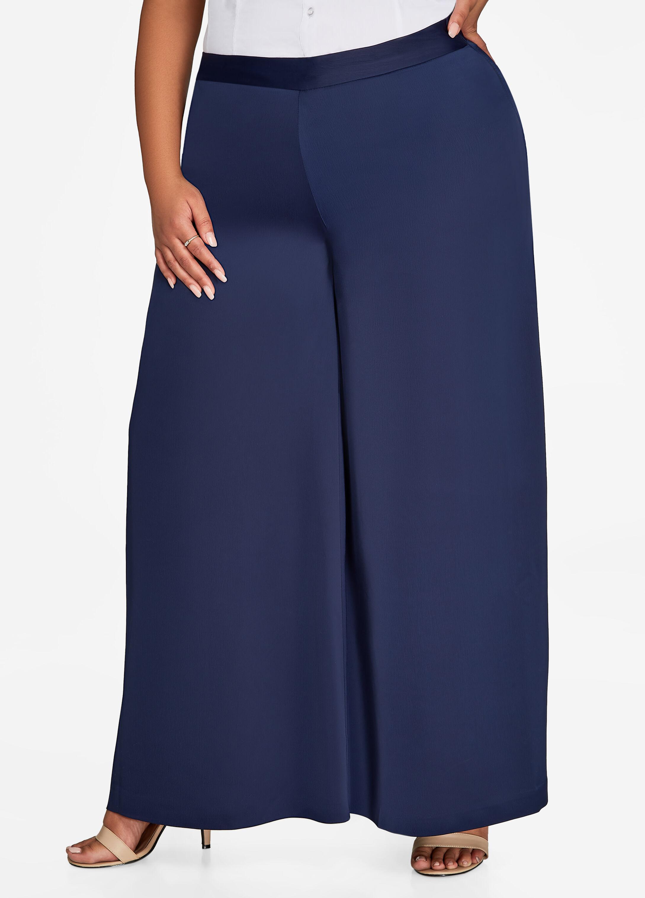Pull-On Satin Wide Leg Dress Pant