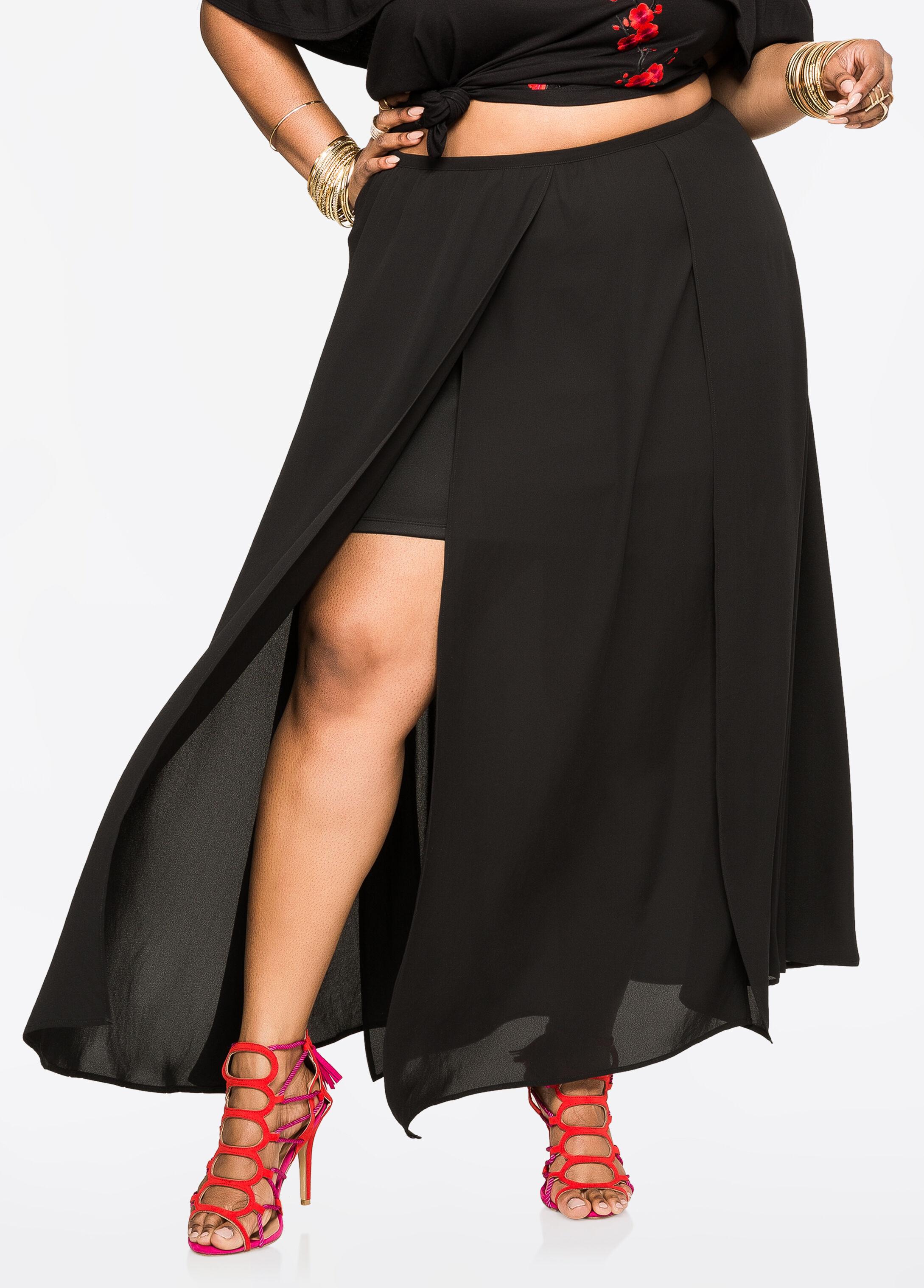 Buy Chiffon Car Wash Maxi Skirt Black