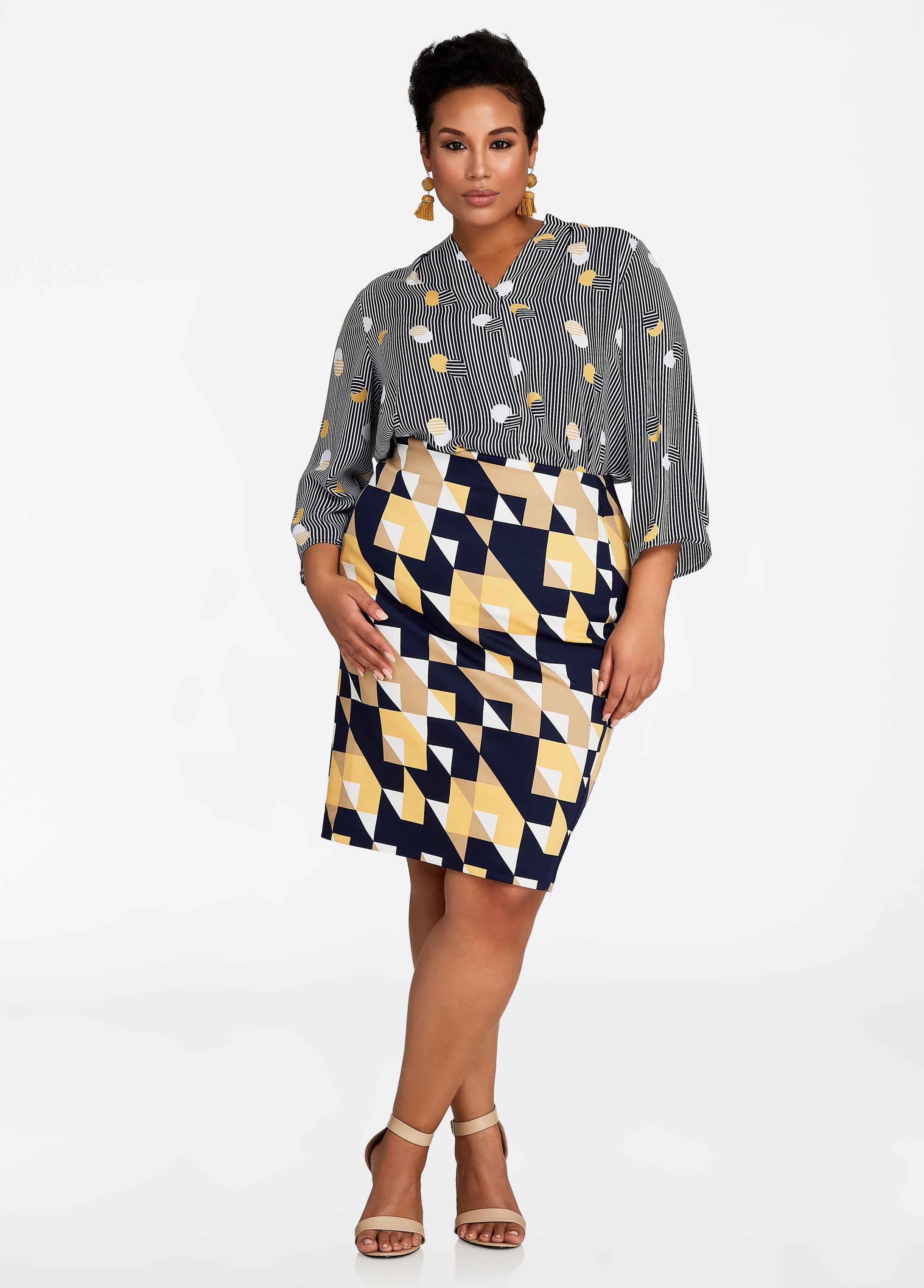 Geo Print Pull-On Pencil Skirt