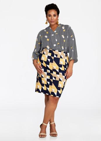 18fc1bae0b4 Geo Print Pull-On Pencil Skirt Peacoat - Bottoms.  39.50. Plus-size ...