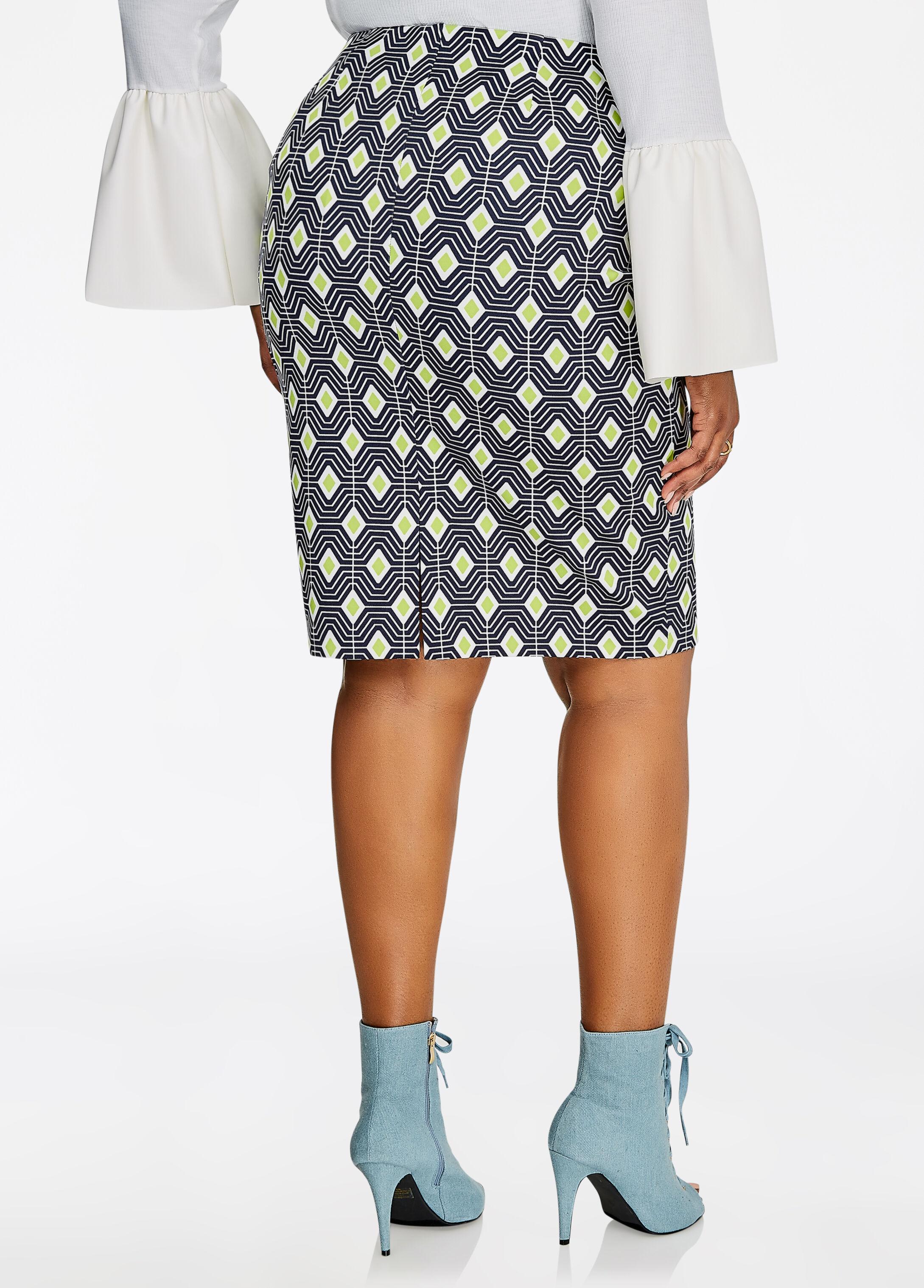 Diamond Geo Print Pencil Skirt