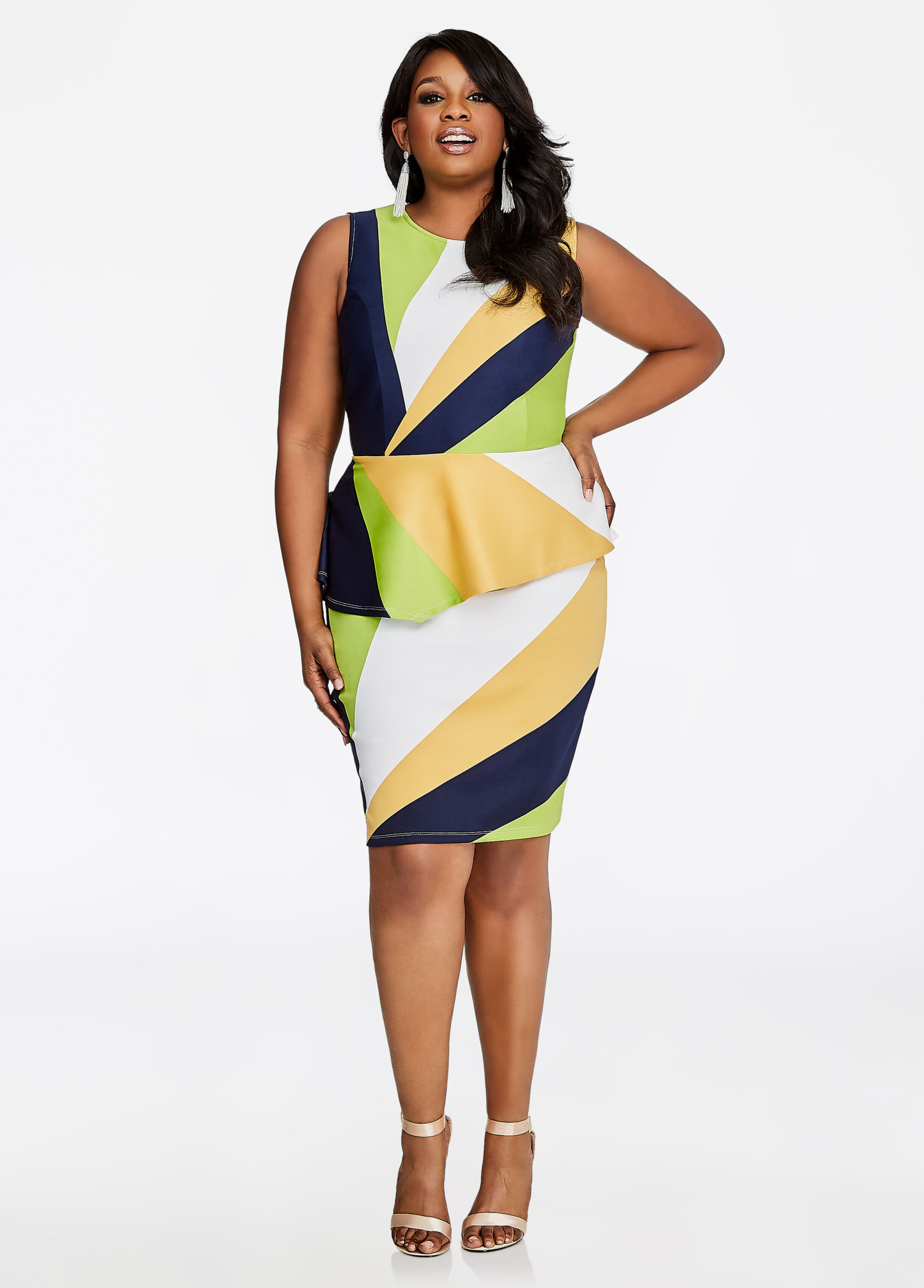 Diagonal Stripe Print Pencil Skirt