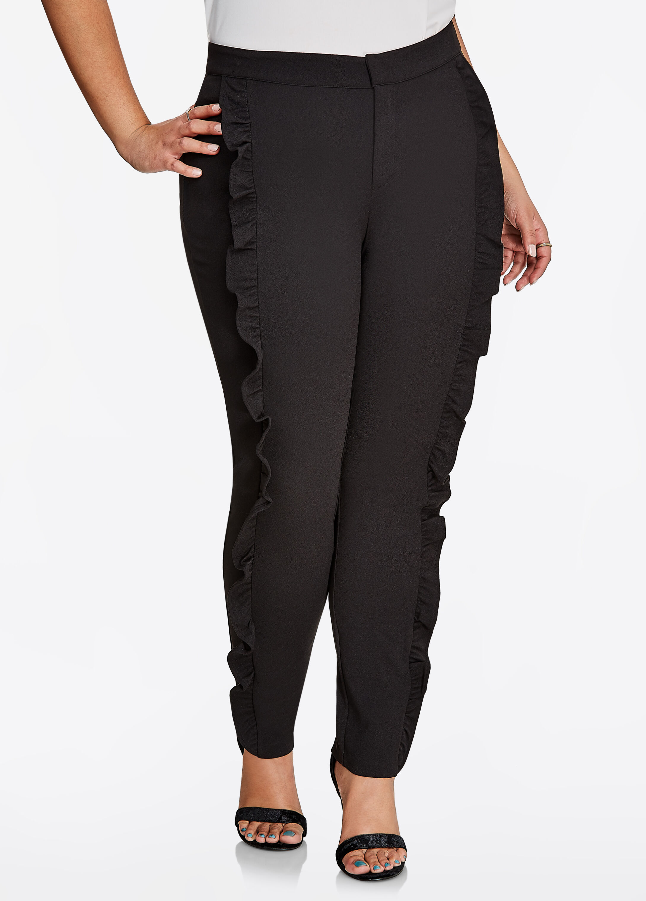 Ruffle Front Ankle Trouser