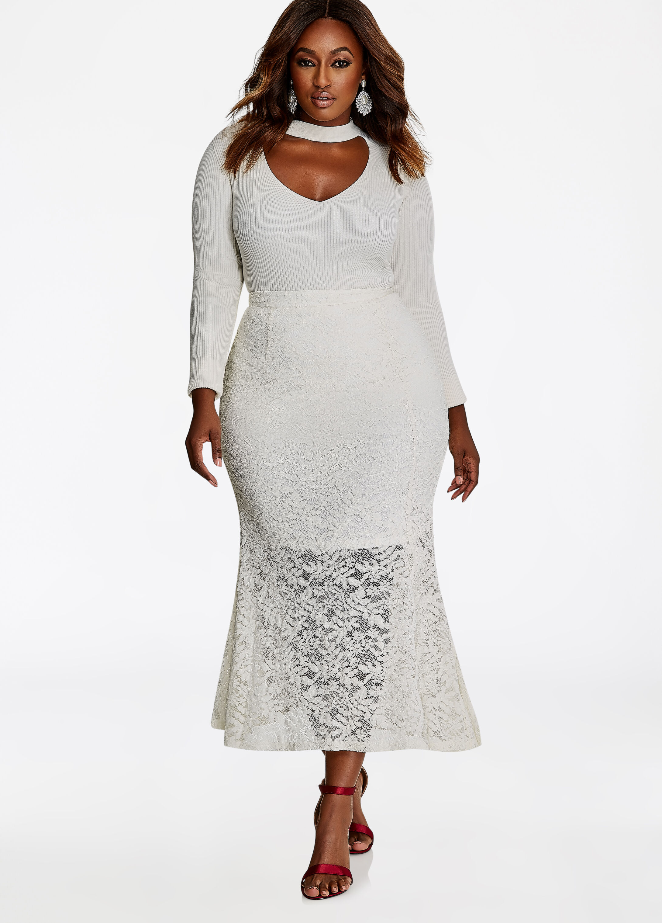 Lace Midi Skirt With Front Slit