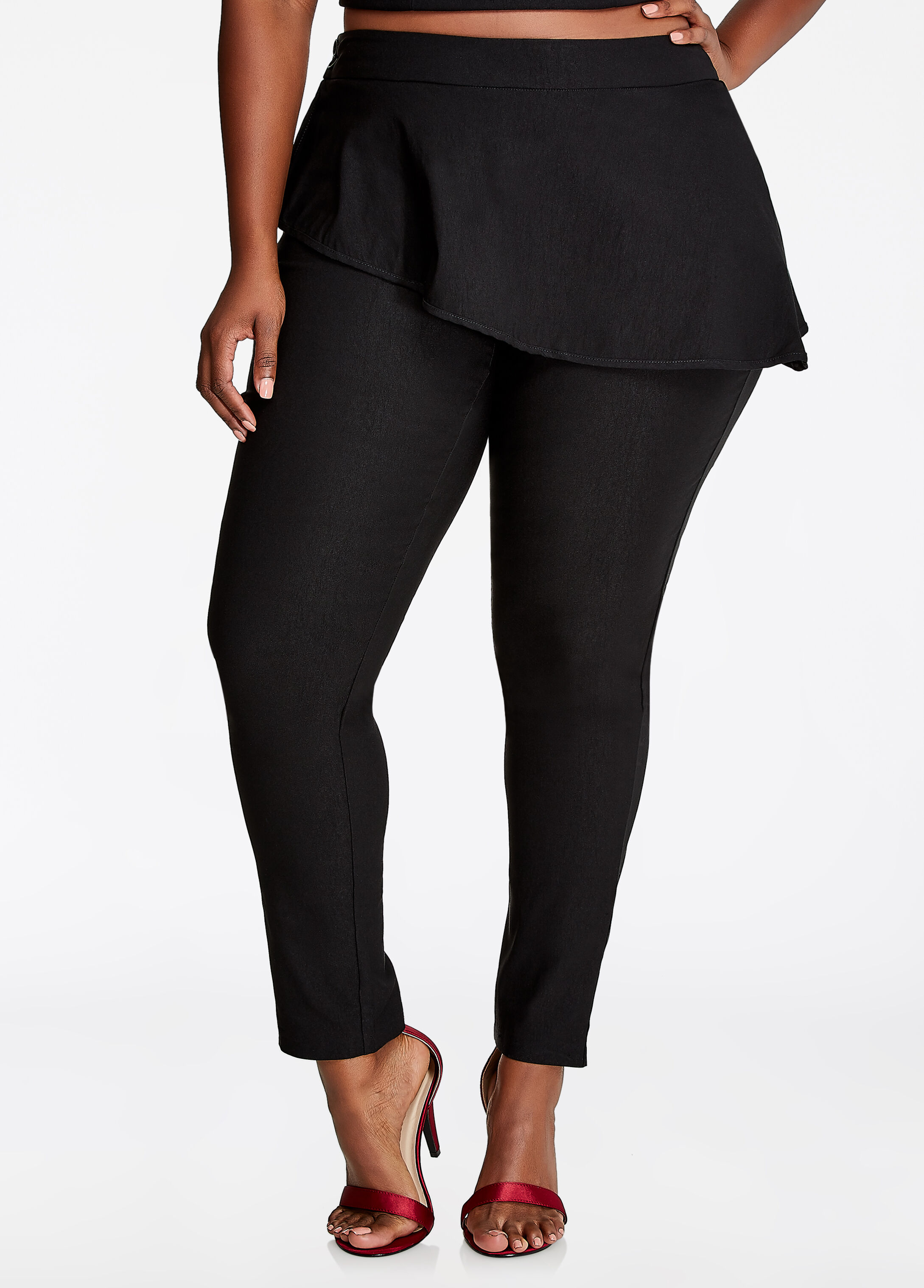 Peplum Skinny Pant Black - Bottoms