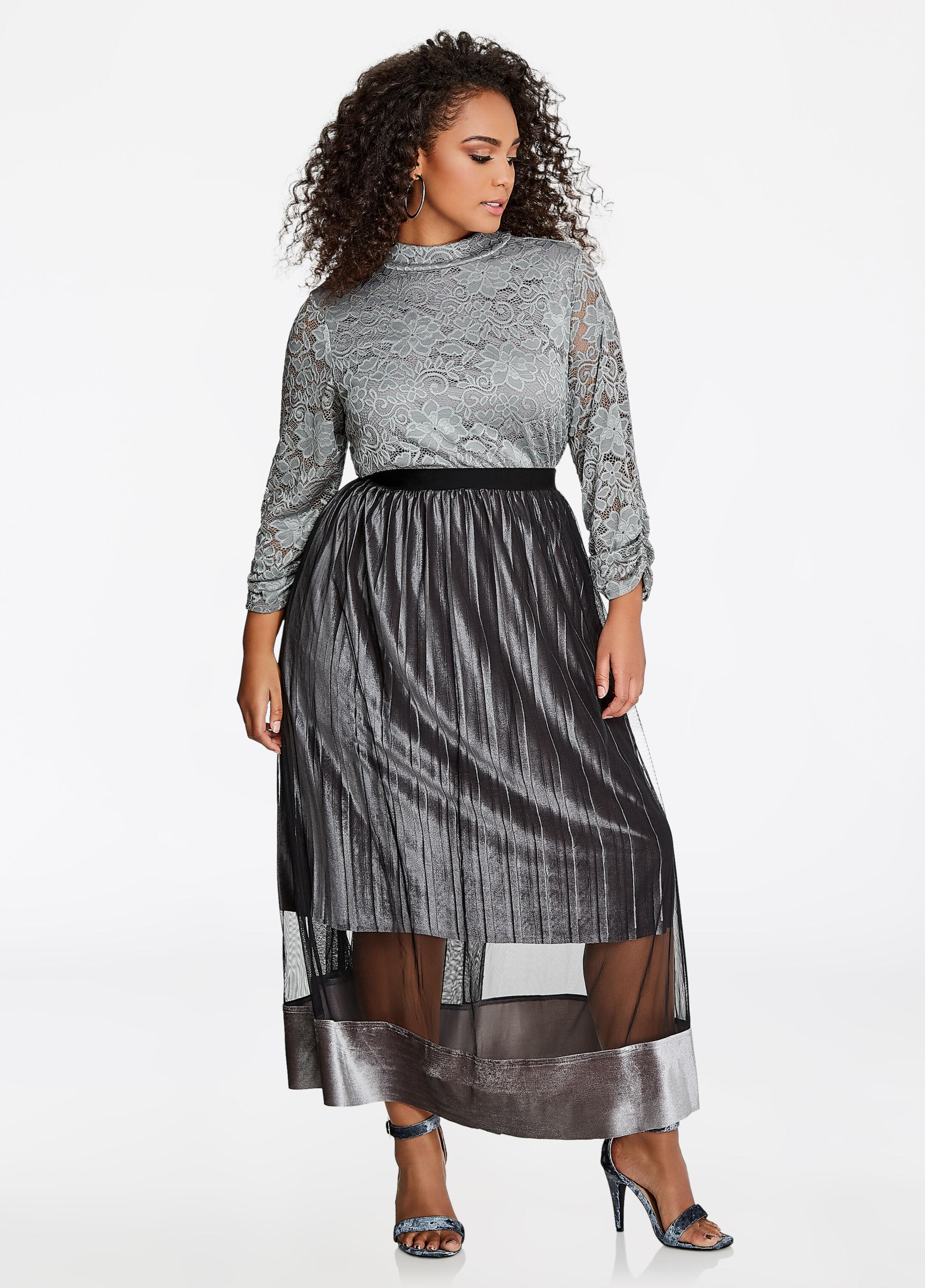 Pull-On Mesh Velvet Pleated Skirt