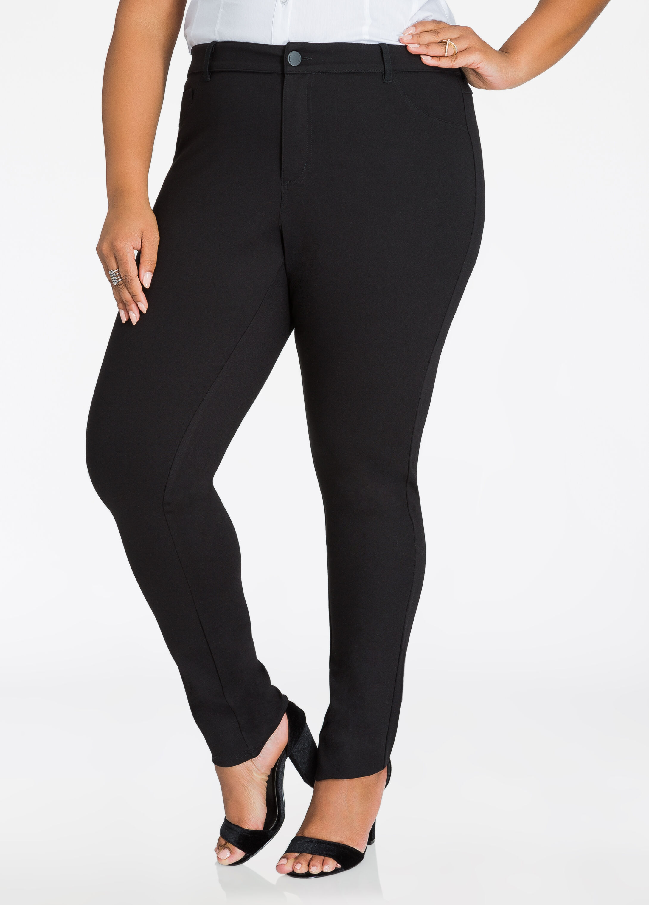 Basic 5 Pocket Ponte Skinny Pant Black - Bottoms