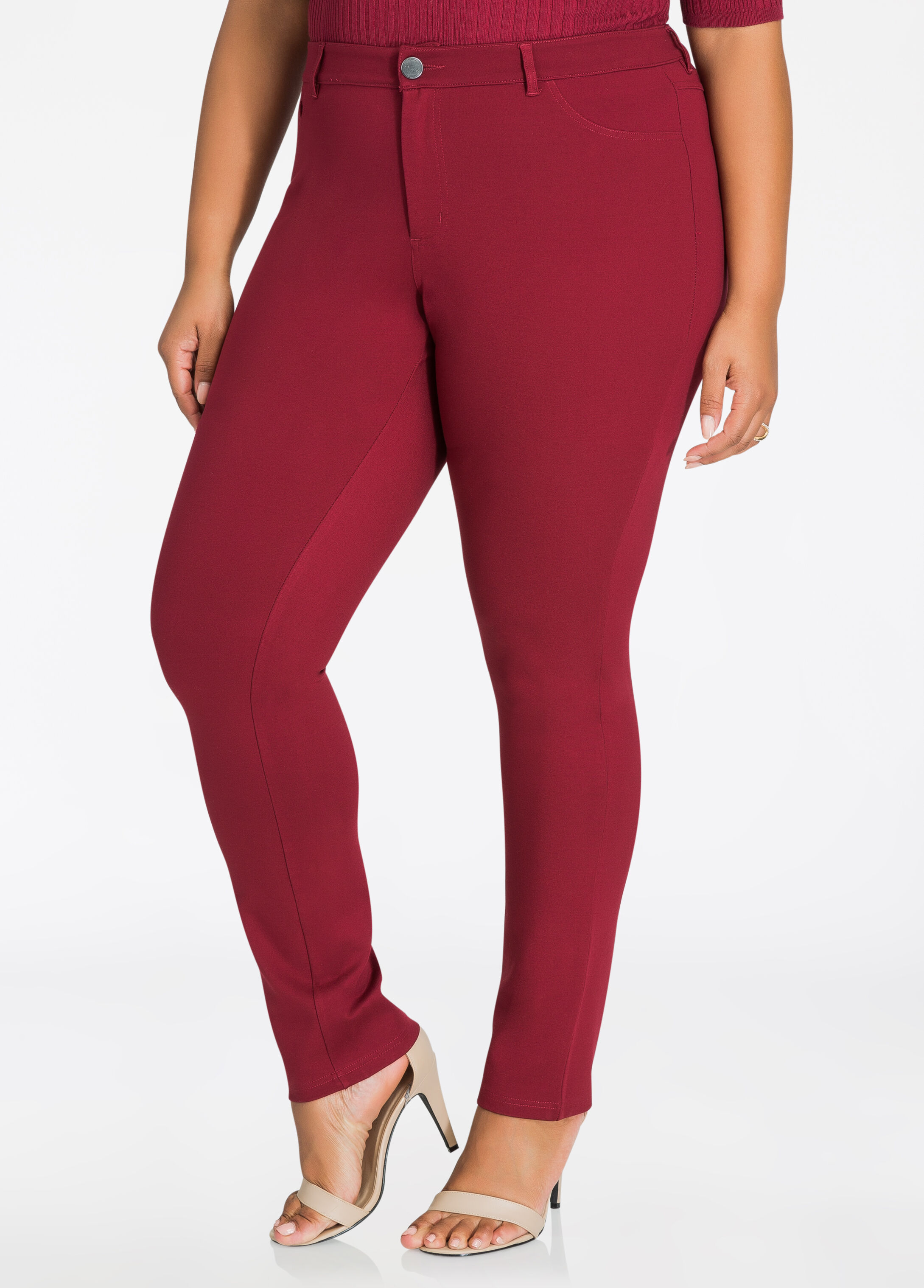 Basic 5 Pocket Ponte Skinny Pant Cabernet - Bottoms