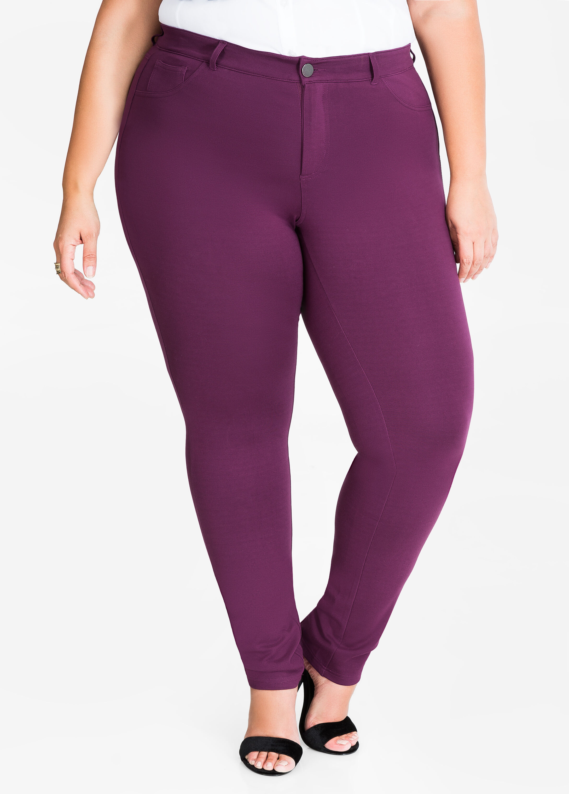 Basic 5 Pocket Ponte Skinny Pant Italian Plum - Bottoms