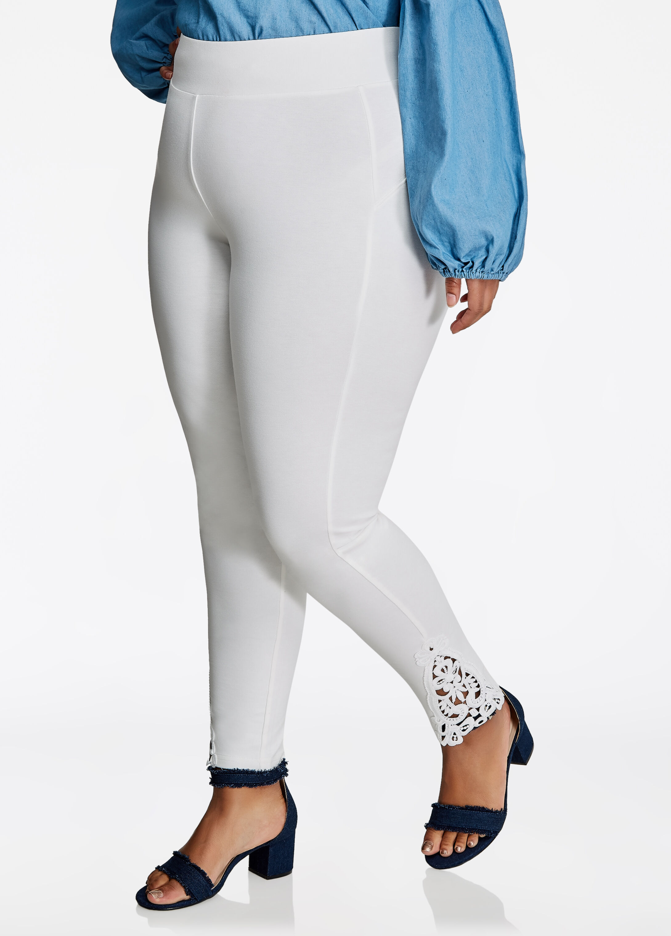 Ponte Legging With Lace Hem