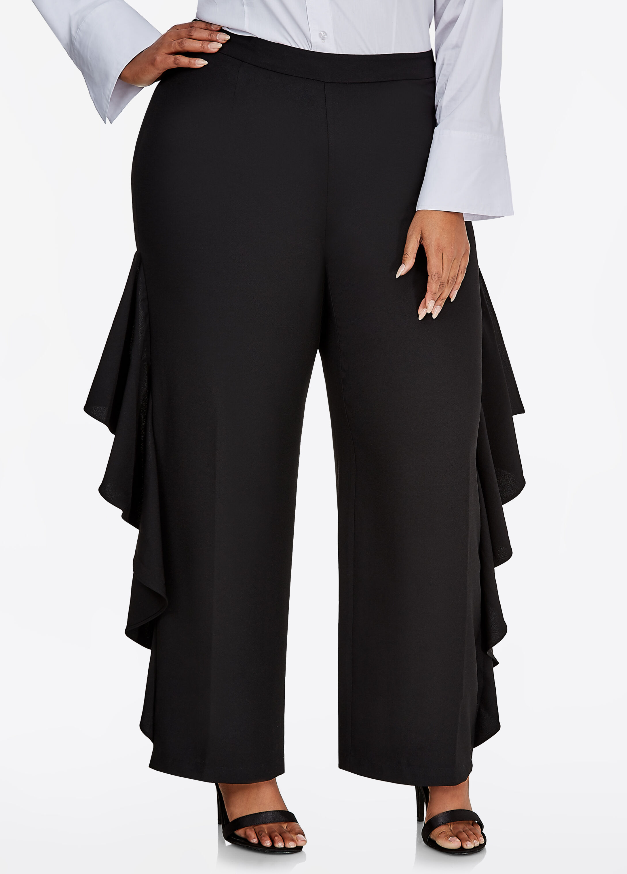 Wide-Leg Pant with Ruffle Sides