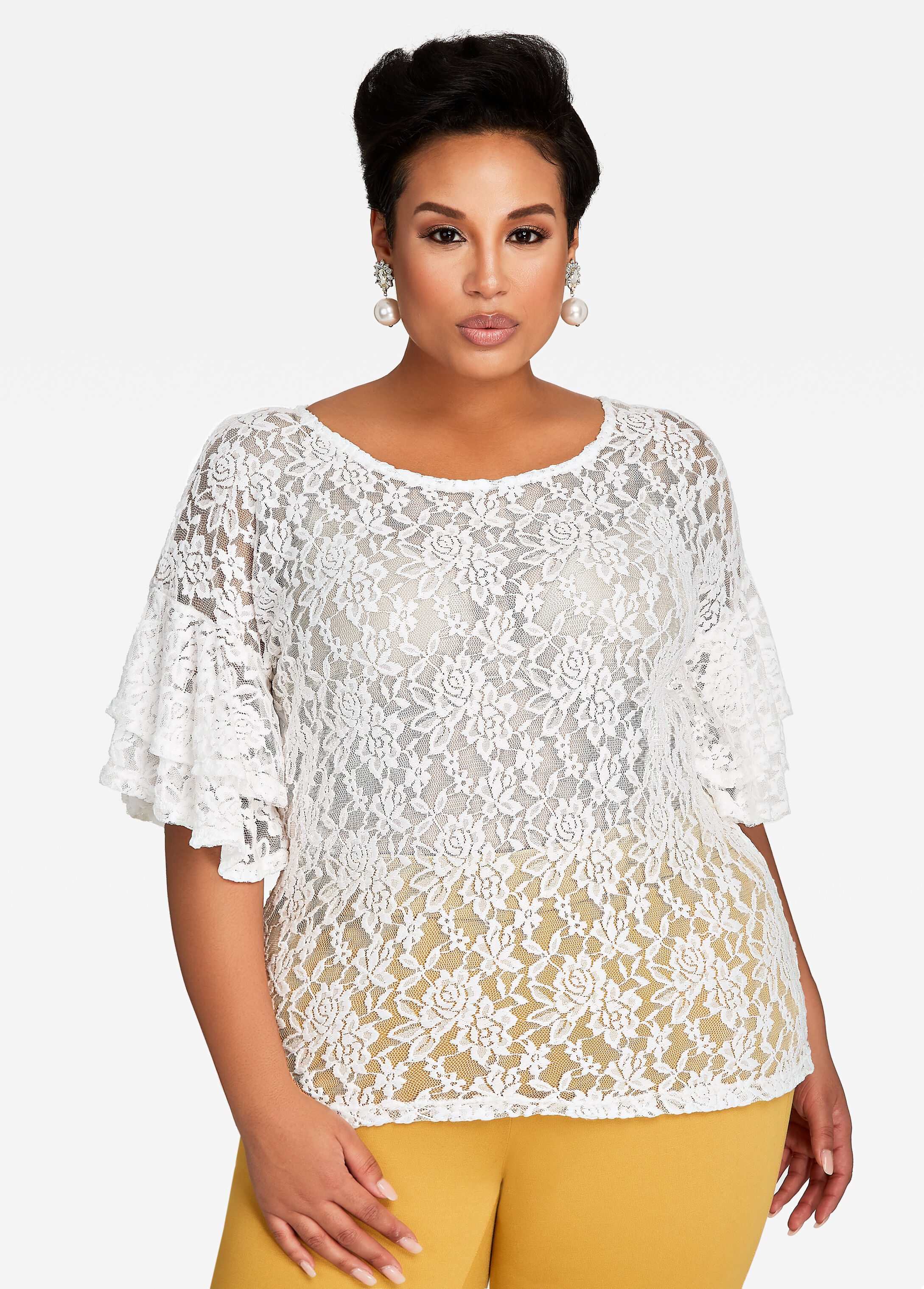 Ruffle Sleeve Floral Lace Tee