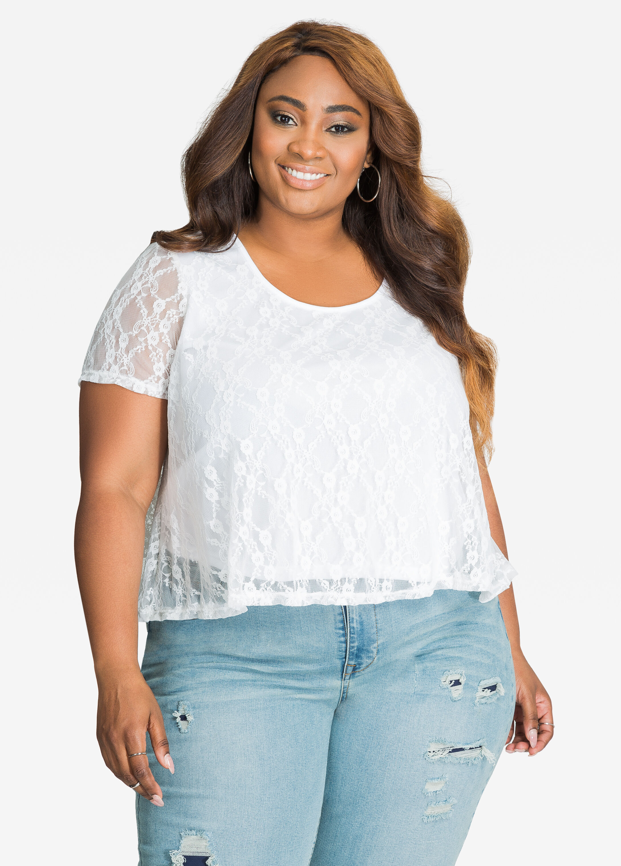 Short Sleeve Lace Overlay Cropped Top