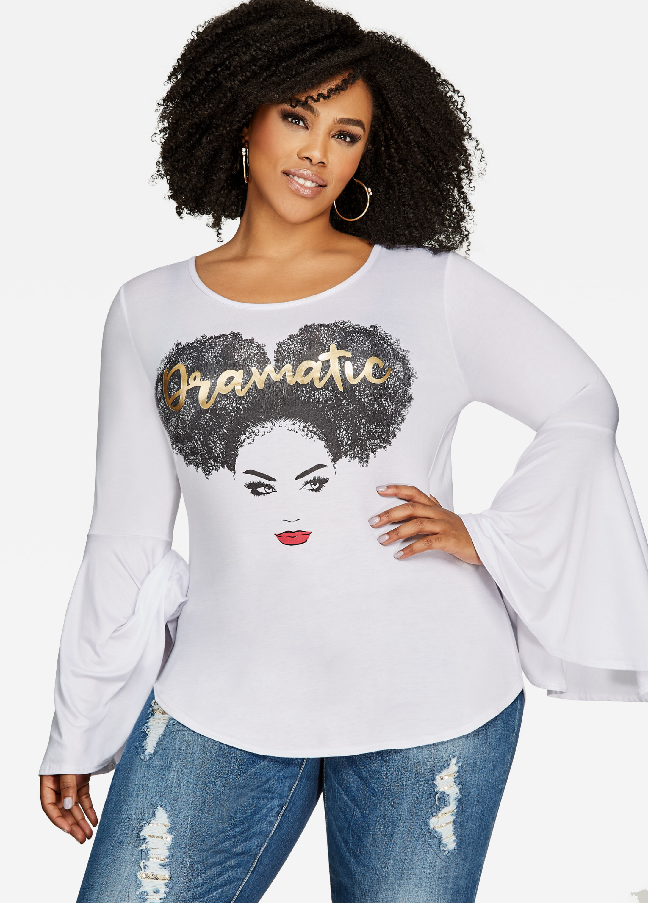 Bell Sleeve Dramatic Graphic Tee