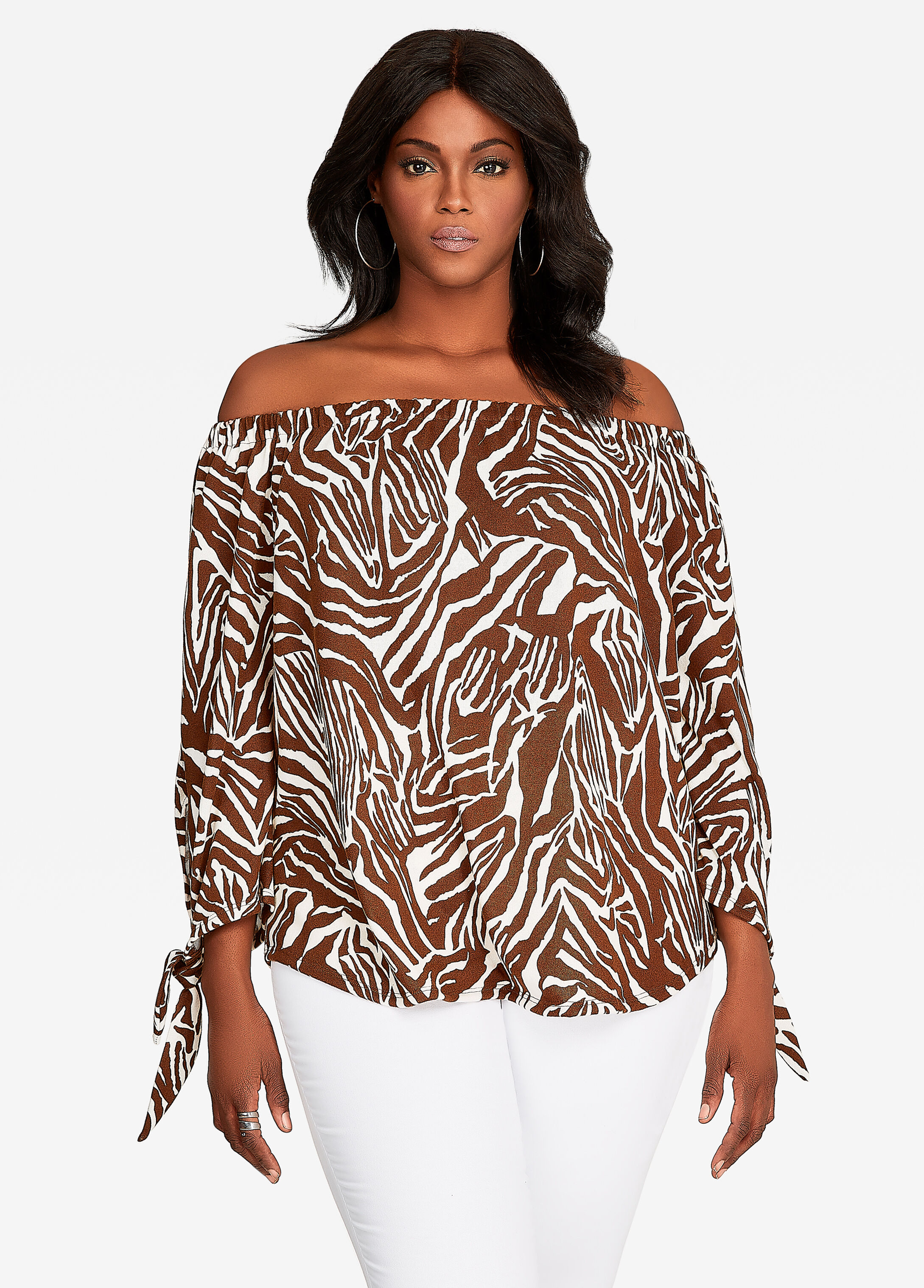 Off-the-Shoulder Zebra Print Top