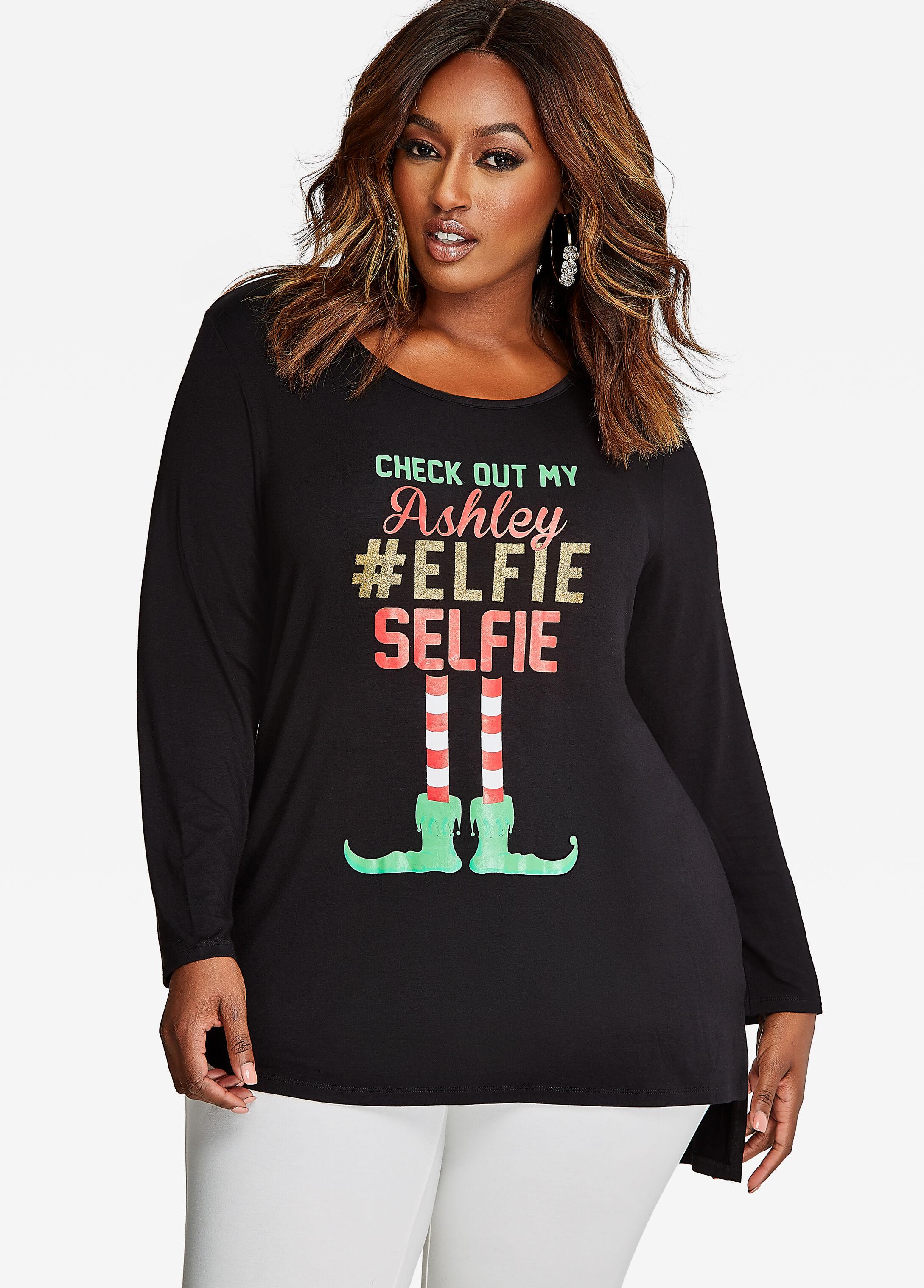 Long Sleeve Hi-Lo Elfie Selfie Tee