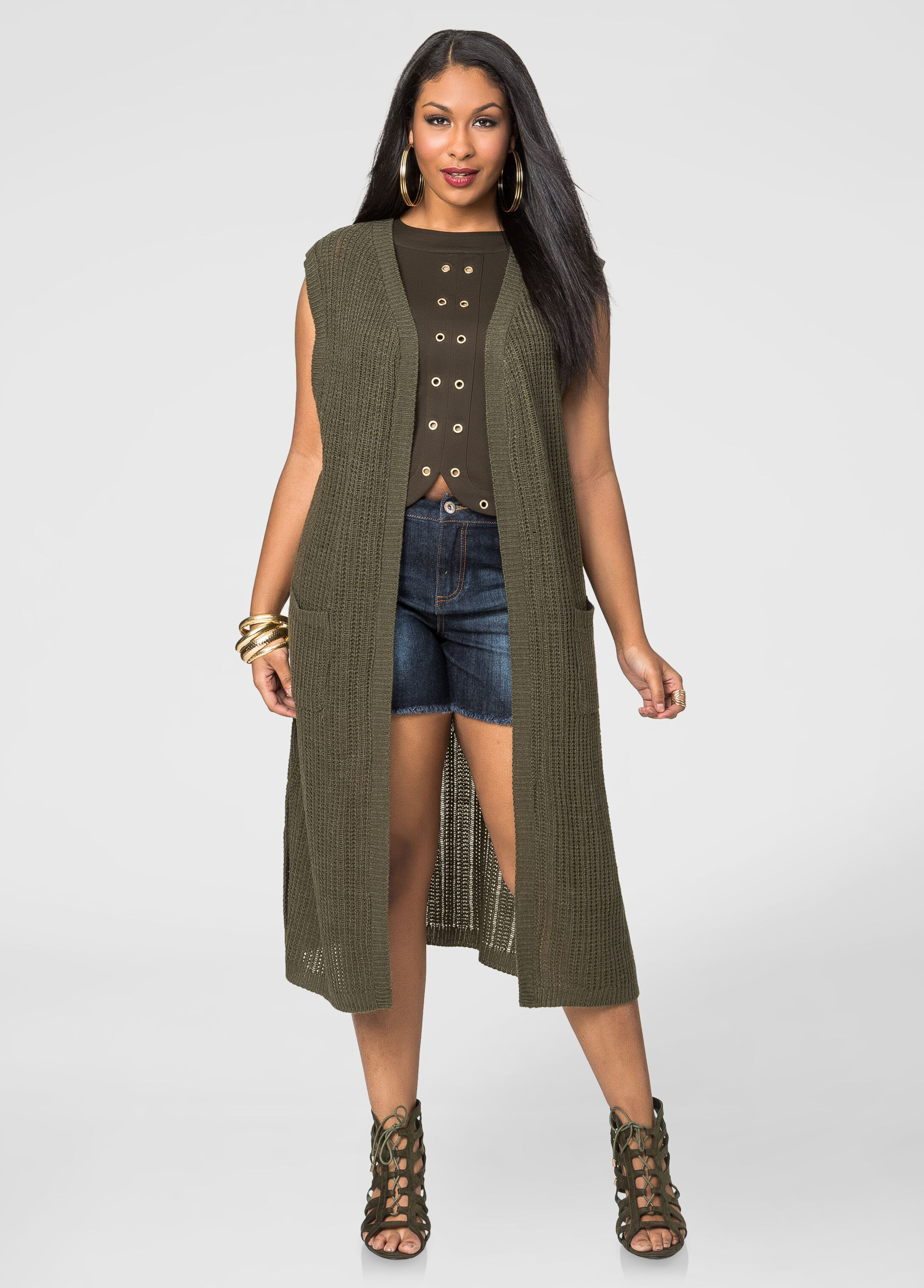 Longline Cardigan Vest-Plus Size Tops-Ashley Stewart-042-16458X