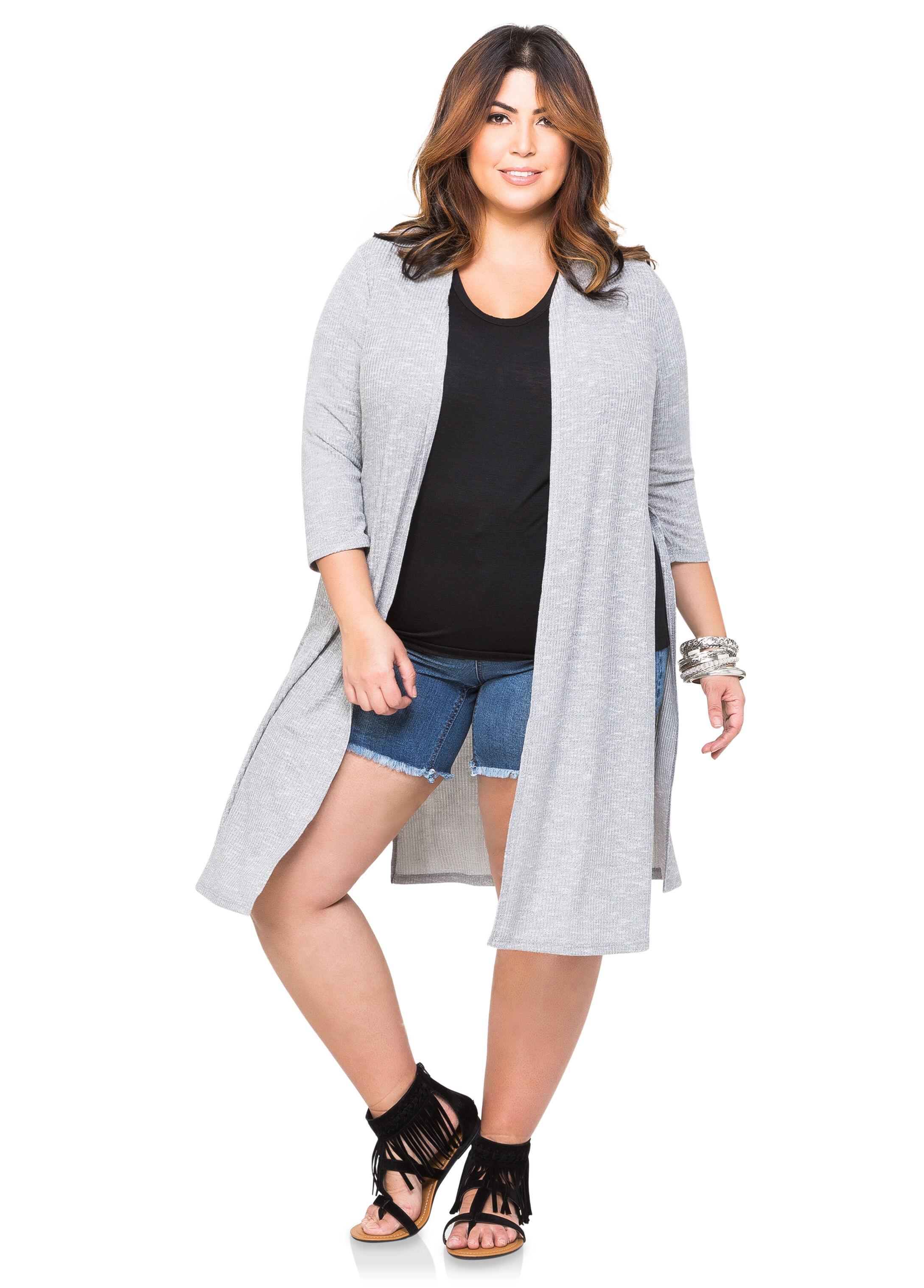 High Slit Duster Cardigan-Plus Size Tops-Ashley Stewart-042-21636X