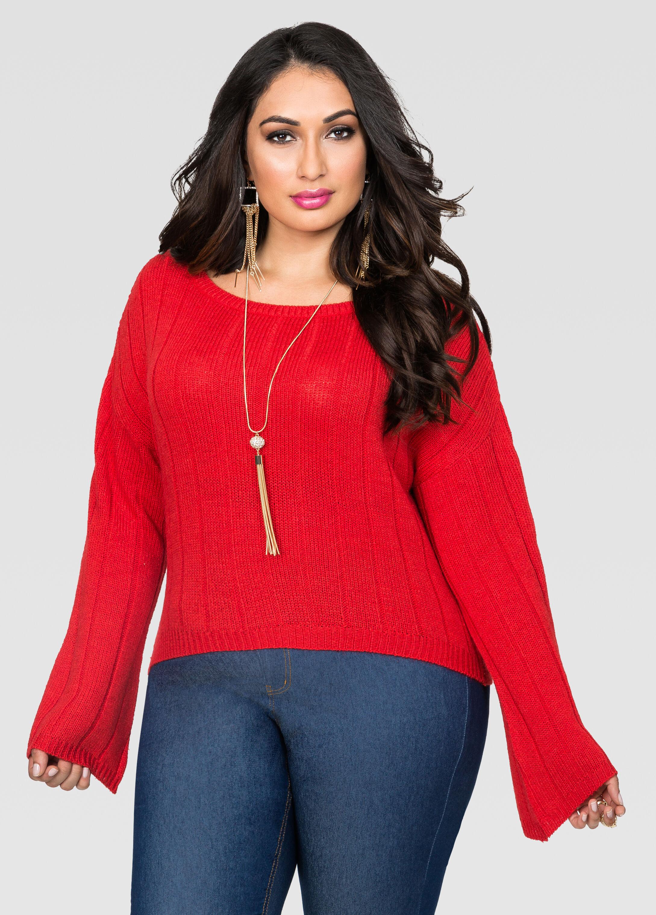 Bell Sleeve Crop Top Sweater-Plus Size Sweaters-Ashley Stewart