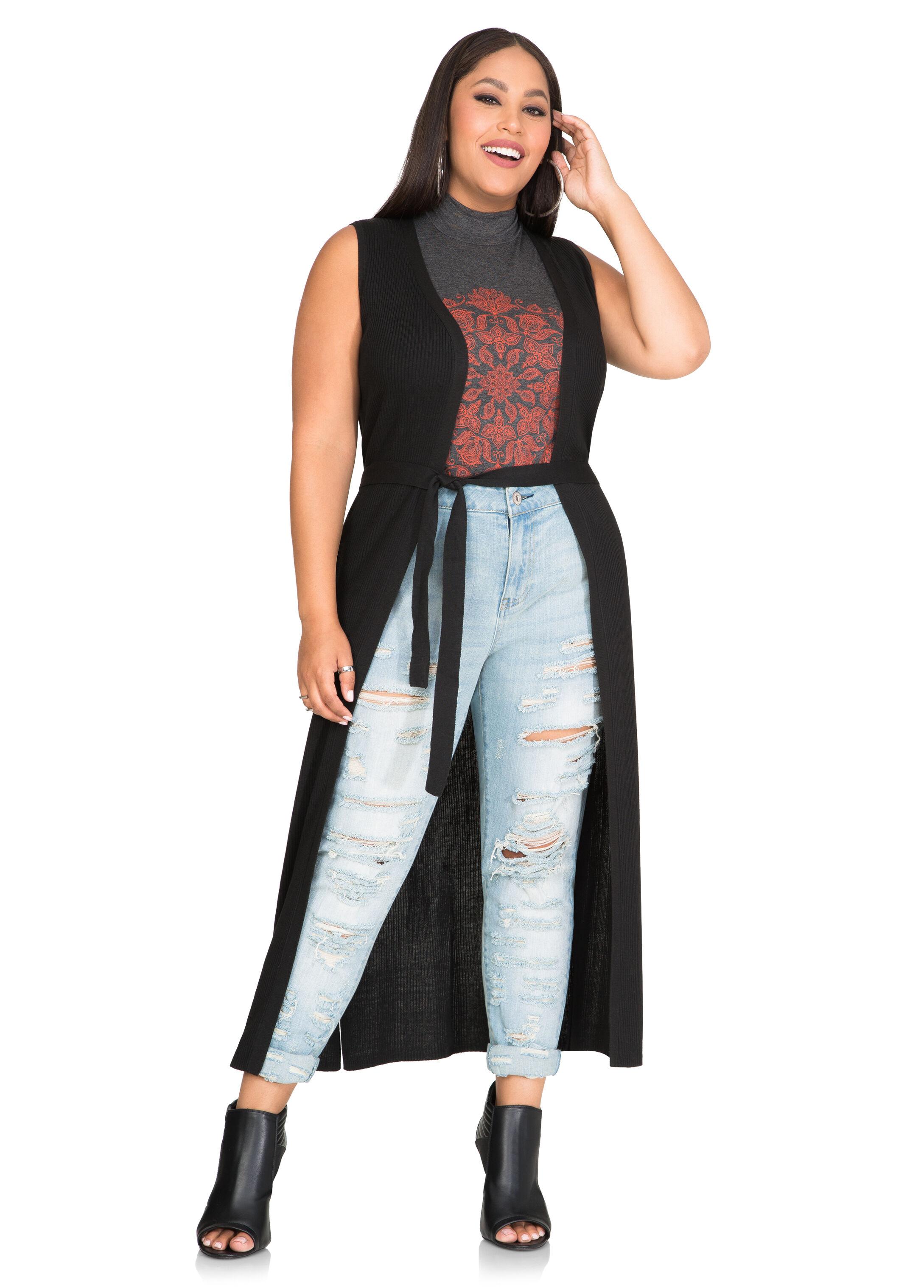 Open Front Long Duster Cardigan-Plus Size Sweaters-Ashley Stewart ...