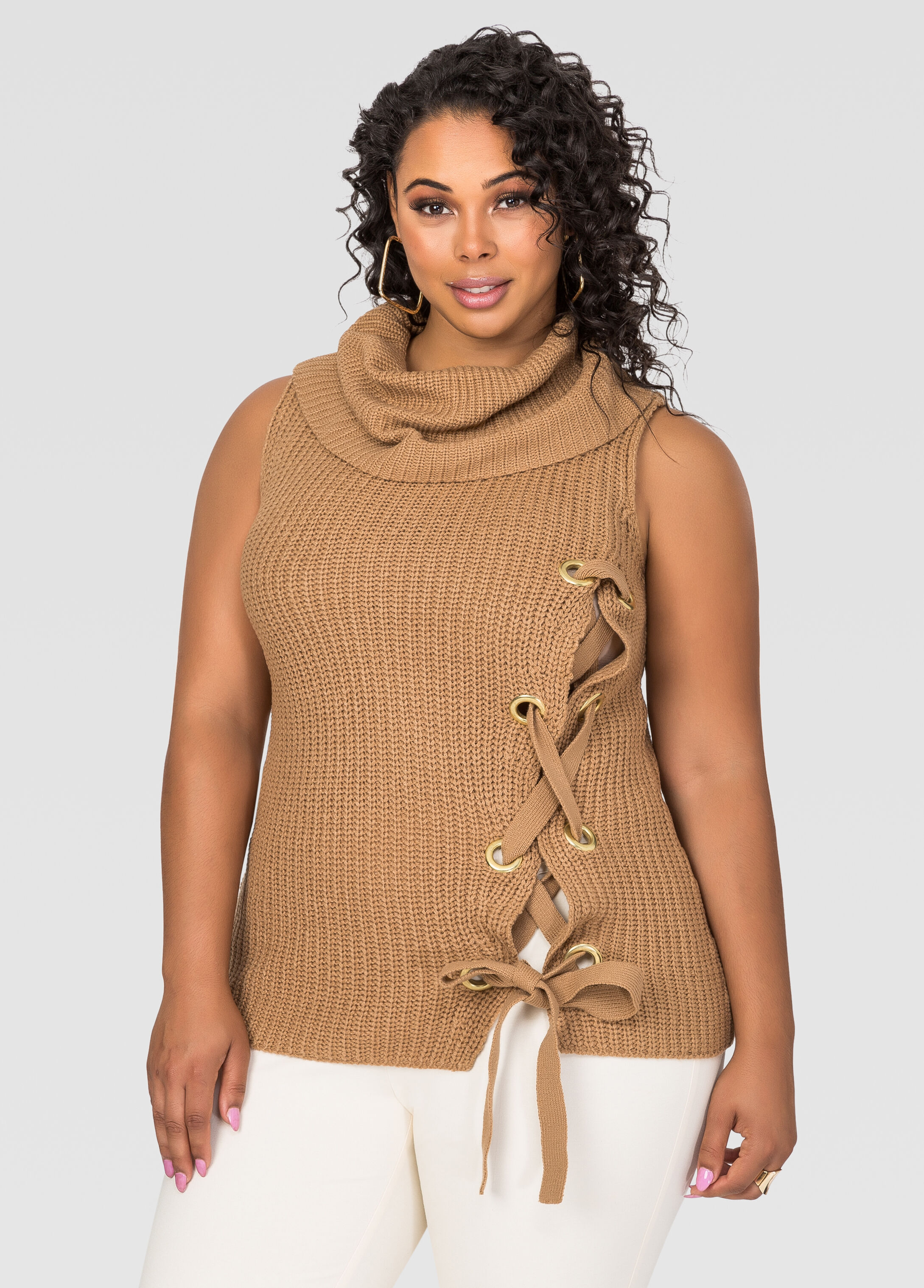 Plus Size Lace-Up Side Cowl Neck Sweater 042-2868X