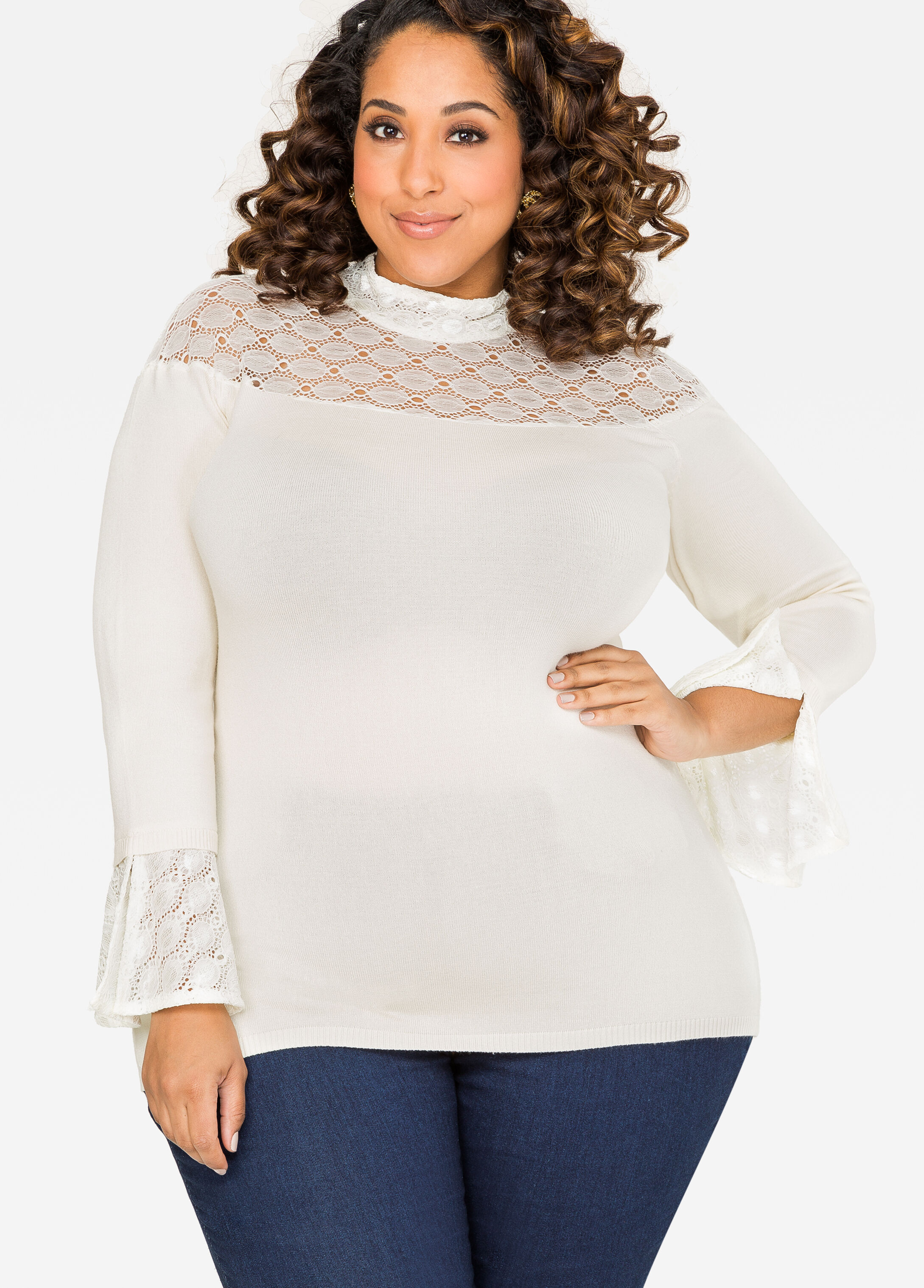 Crochet Lace Mock Neck Sweater Egg Nog - Clearance