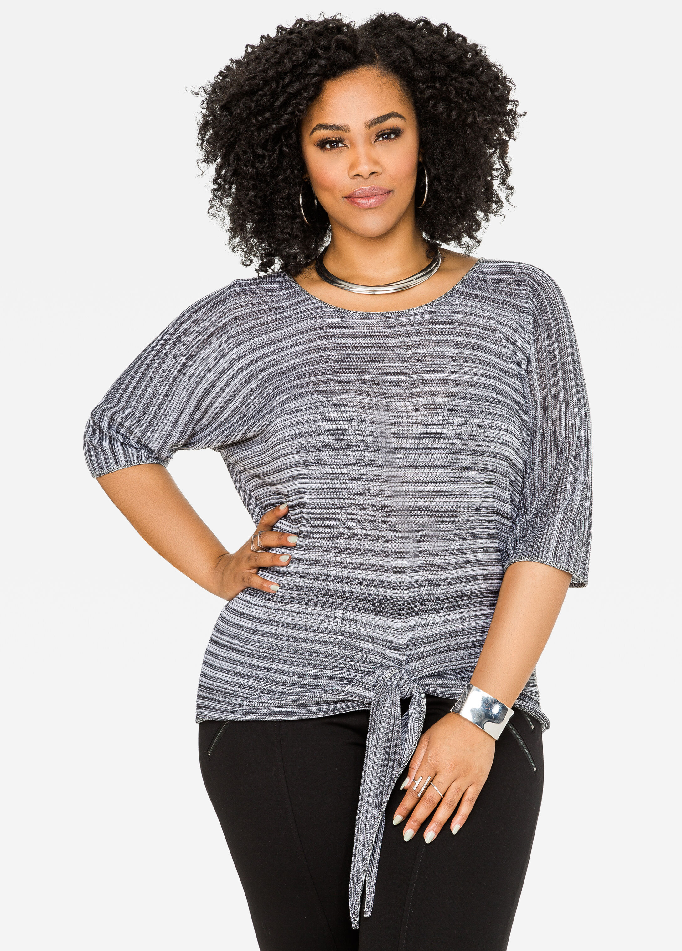 Tie Front Heathered Sweater Black White - Clearance