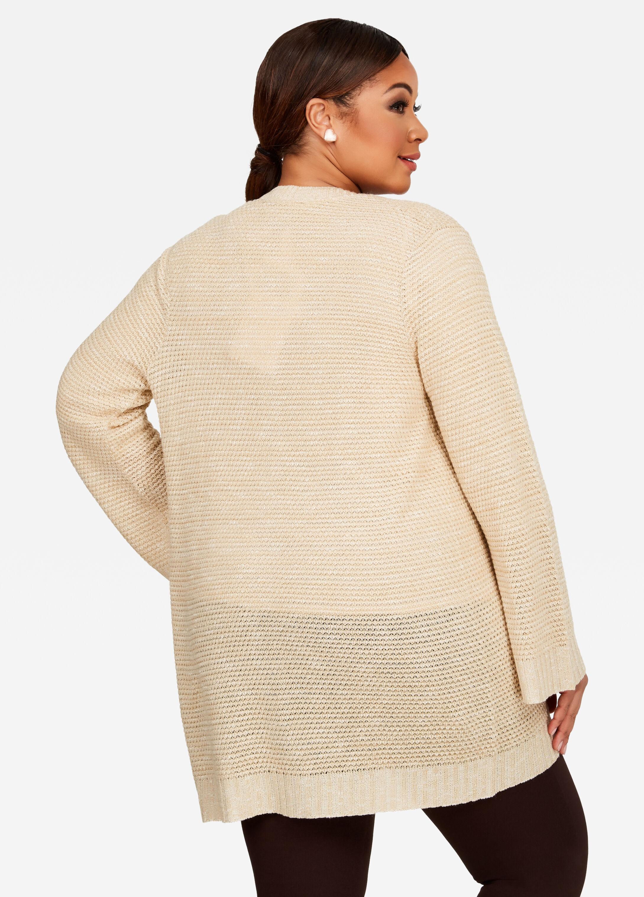 Long Sleeve Flare Sleeve Waffle Knit Cardigan Sweater - Plus Size ...