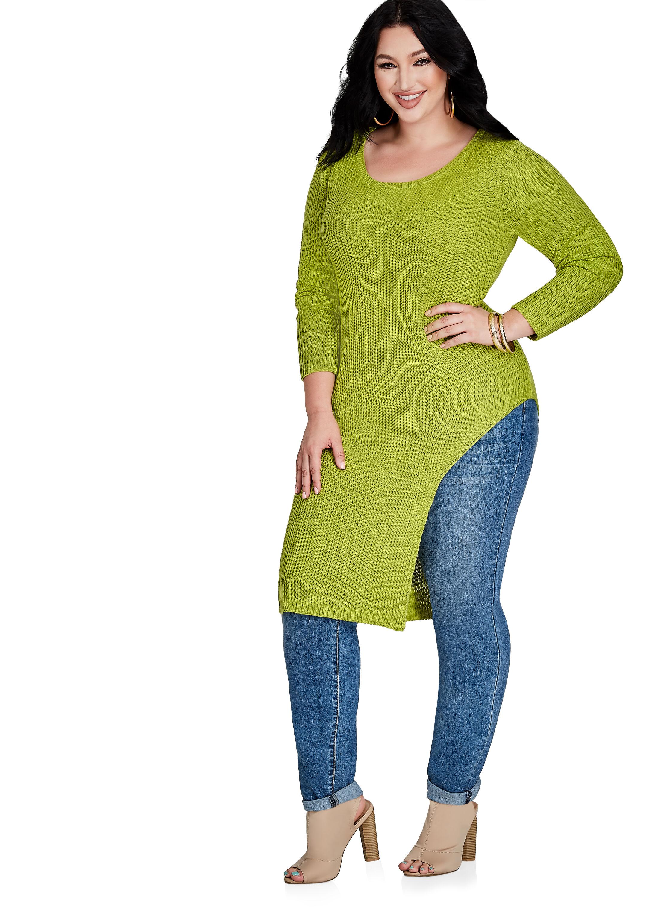 Buy Long Sleeve Knit Slit Sweater Macaw Green - Sweaters