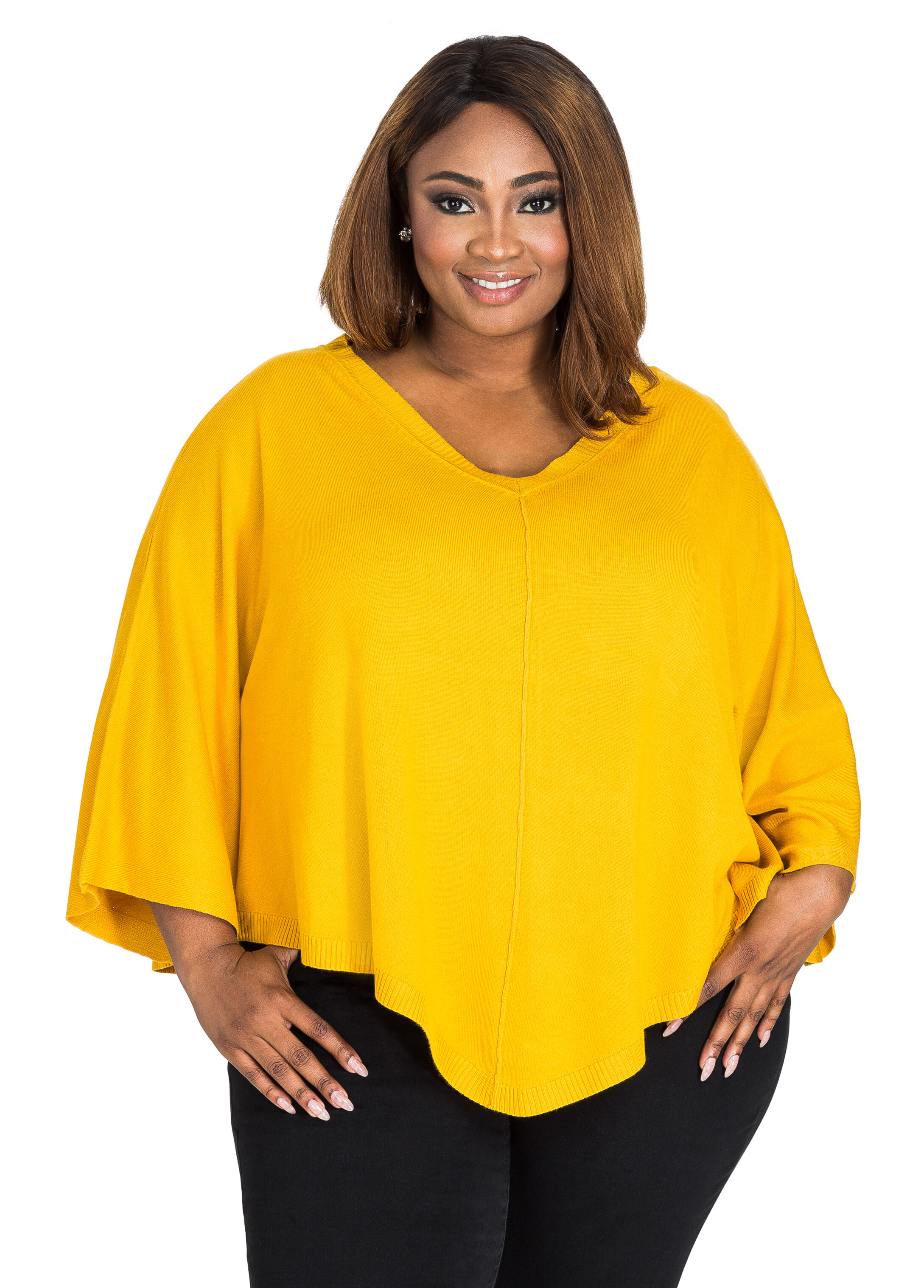 Plus Size Sweater - V-Neck Sweater - Capelet V-Neck Sweater