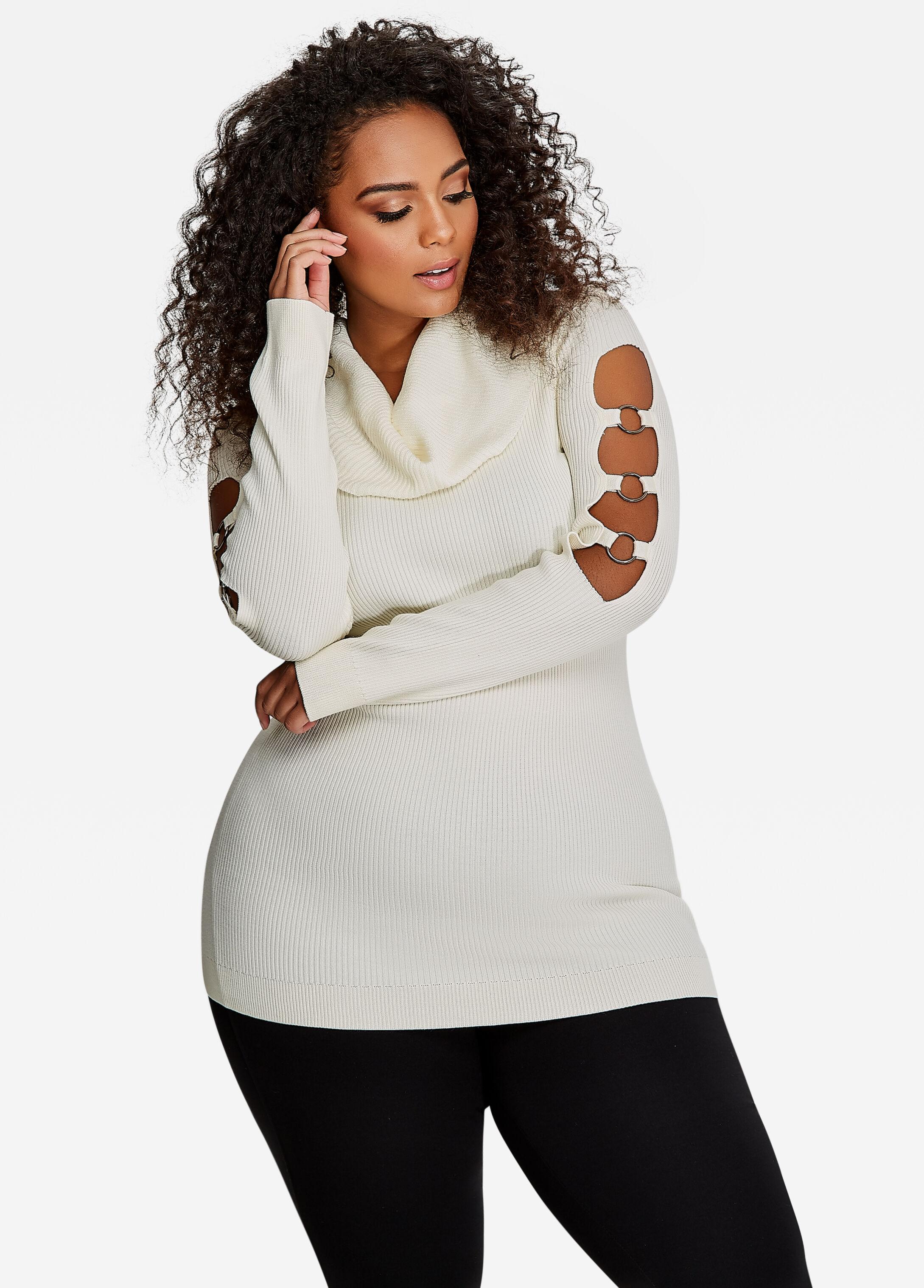 Off-Shoulder Cowl Neck Sweater