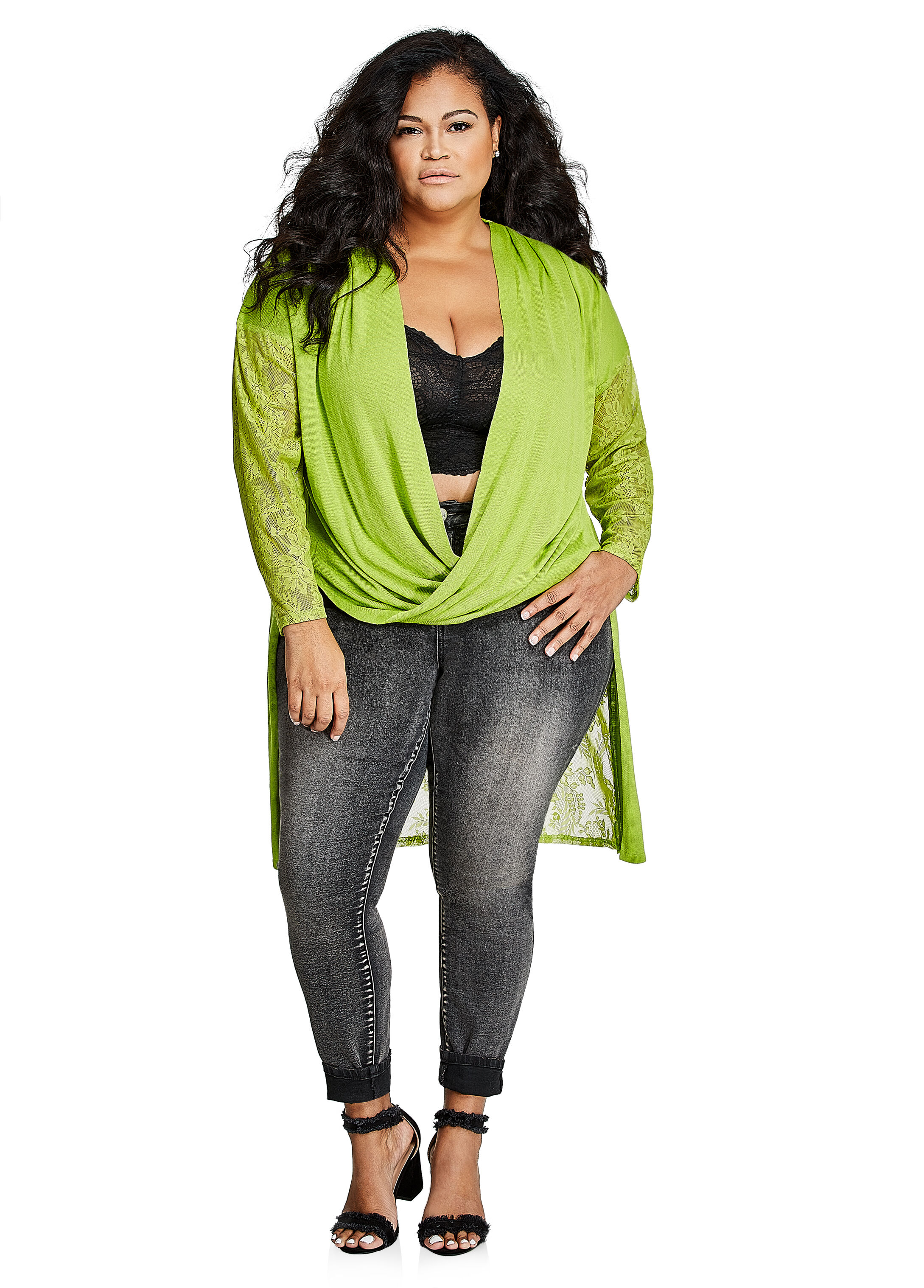 Plus Size Sweaters - Long Sleeve Lace Duster