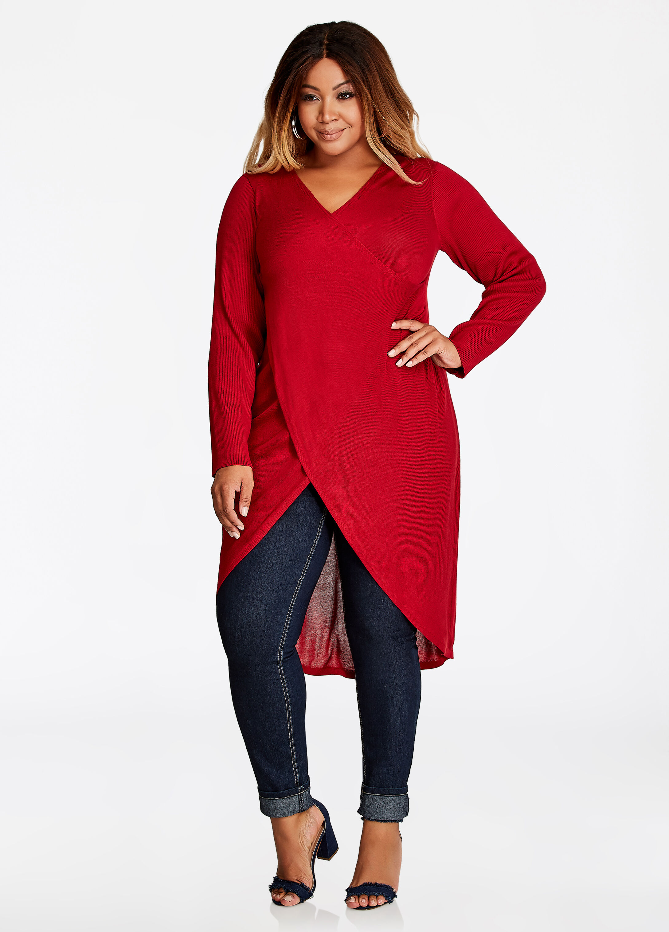 Buy Long Sleeve Drape Sweater Scooter Red - Sweaters